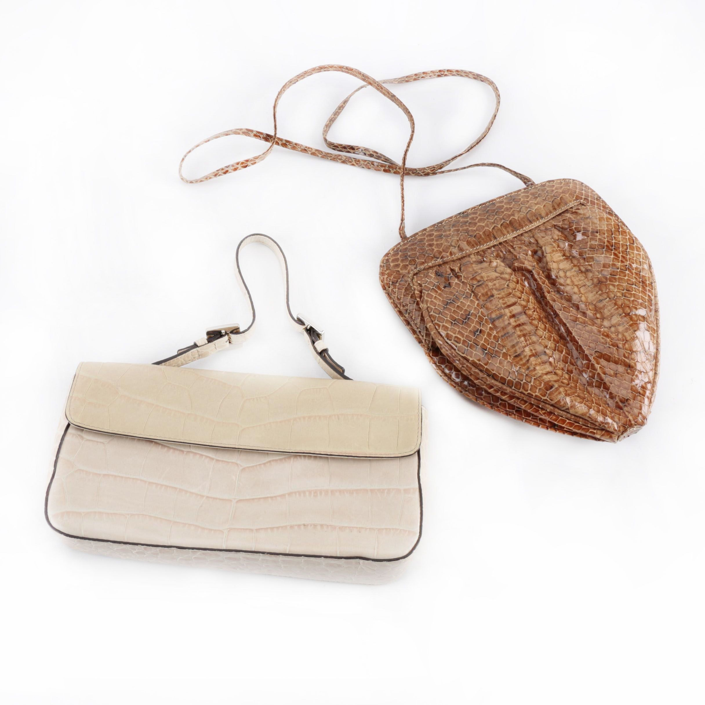 Snakeskin and Embossed Leather Handbags