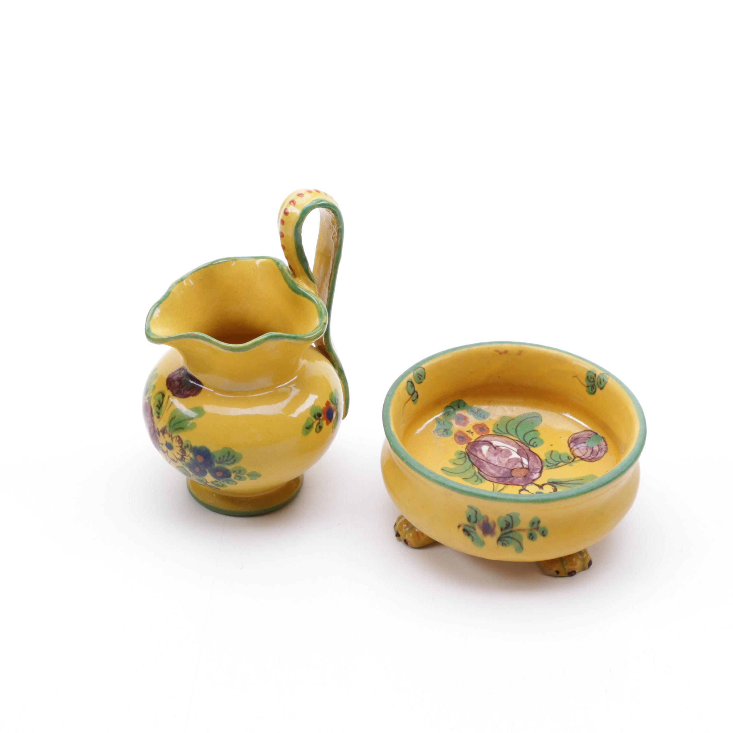 Yellow Ceramic Pitcher and Bowl
