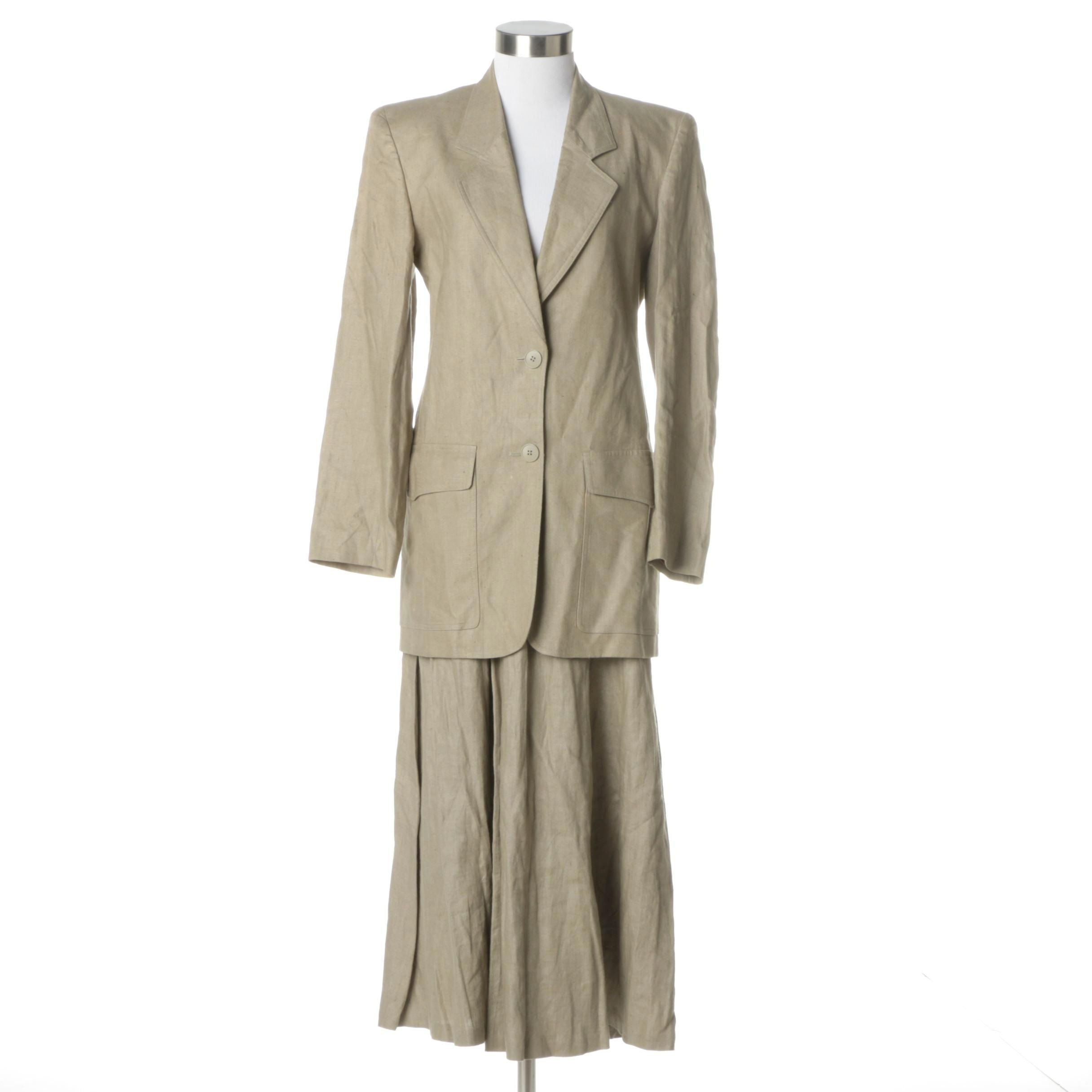 1980s Vintage Christian Dior Separates Linen Skirt Suit