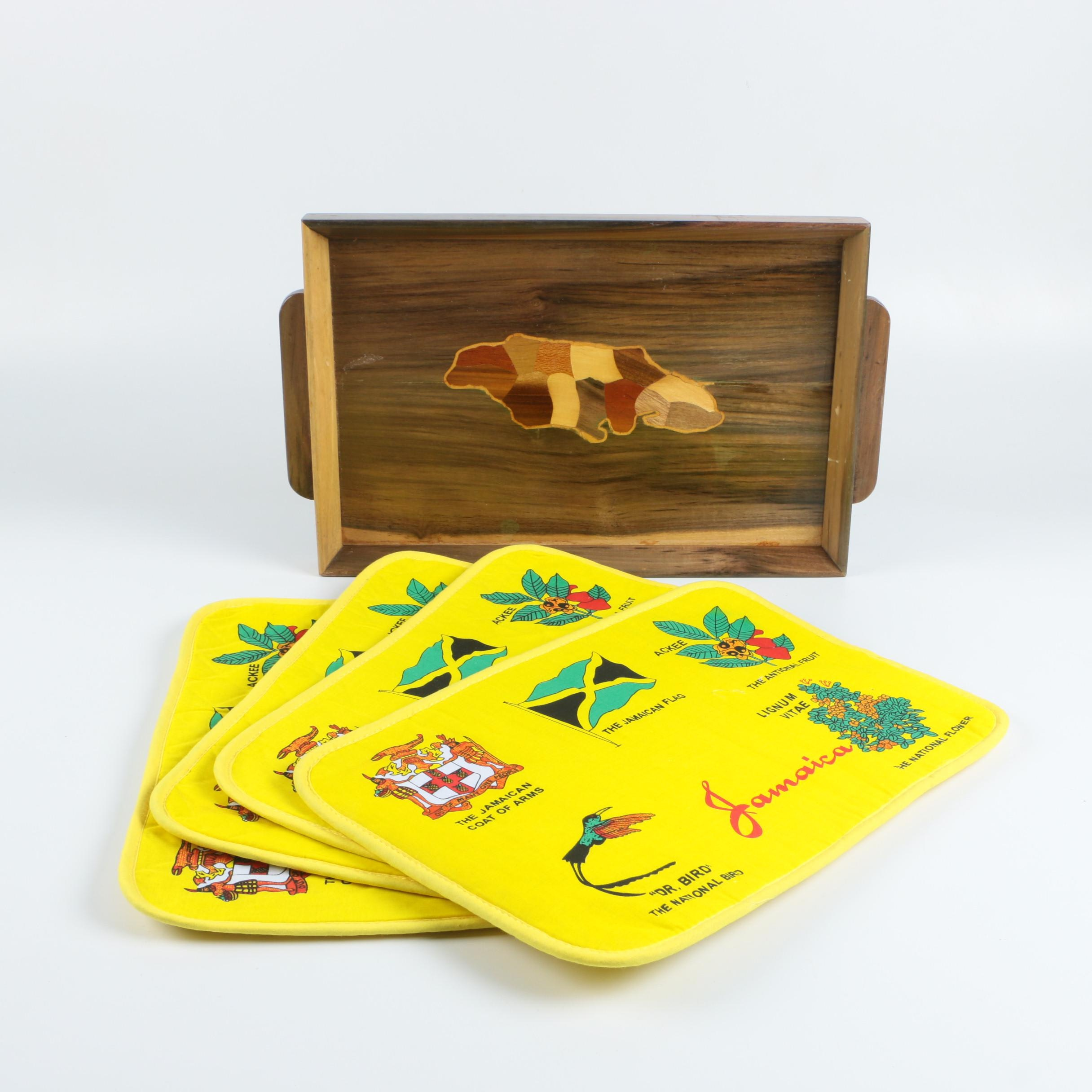 Jamaica Place Mat Set and Wooden Tray