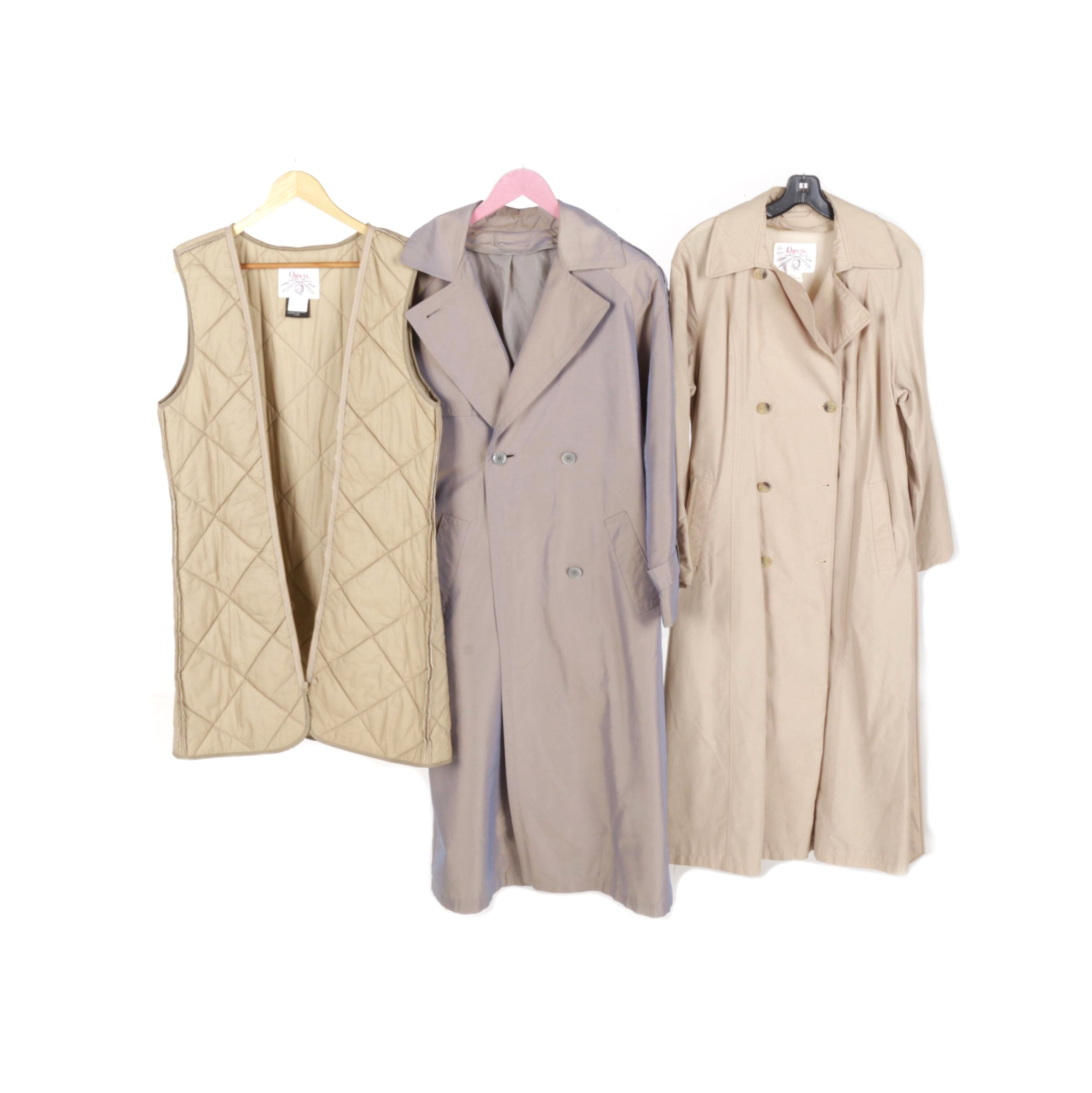 Women's Trench Coats and Quilted Vest Including Orvis