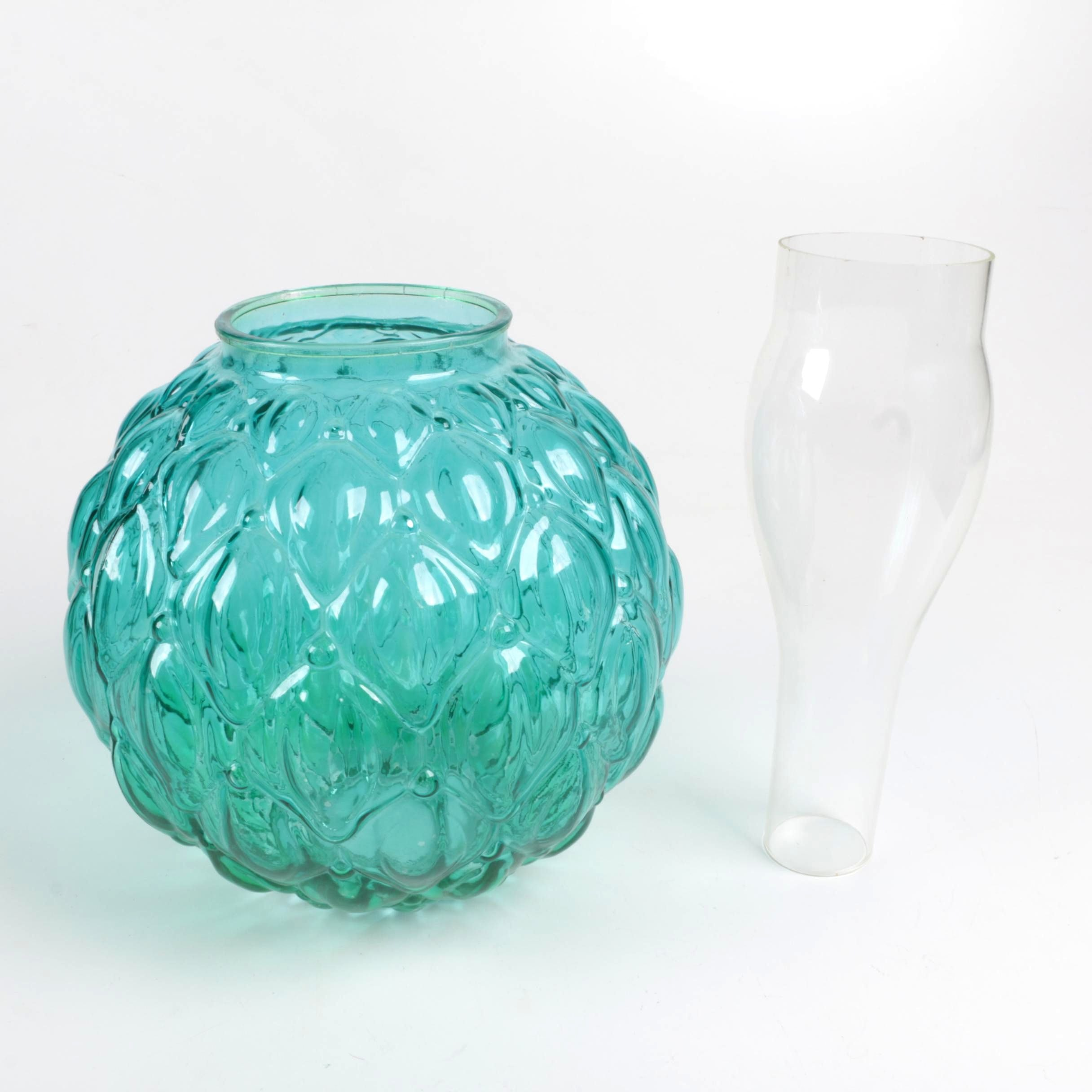 Green Glass Sphere and Vase