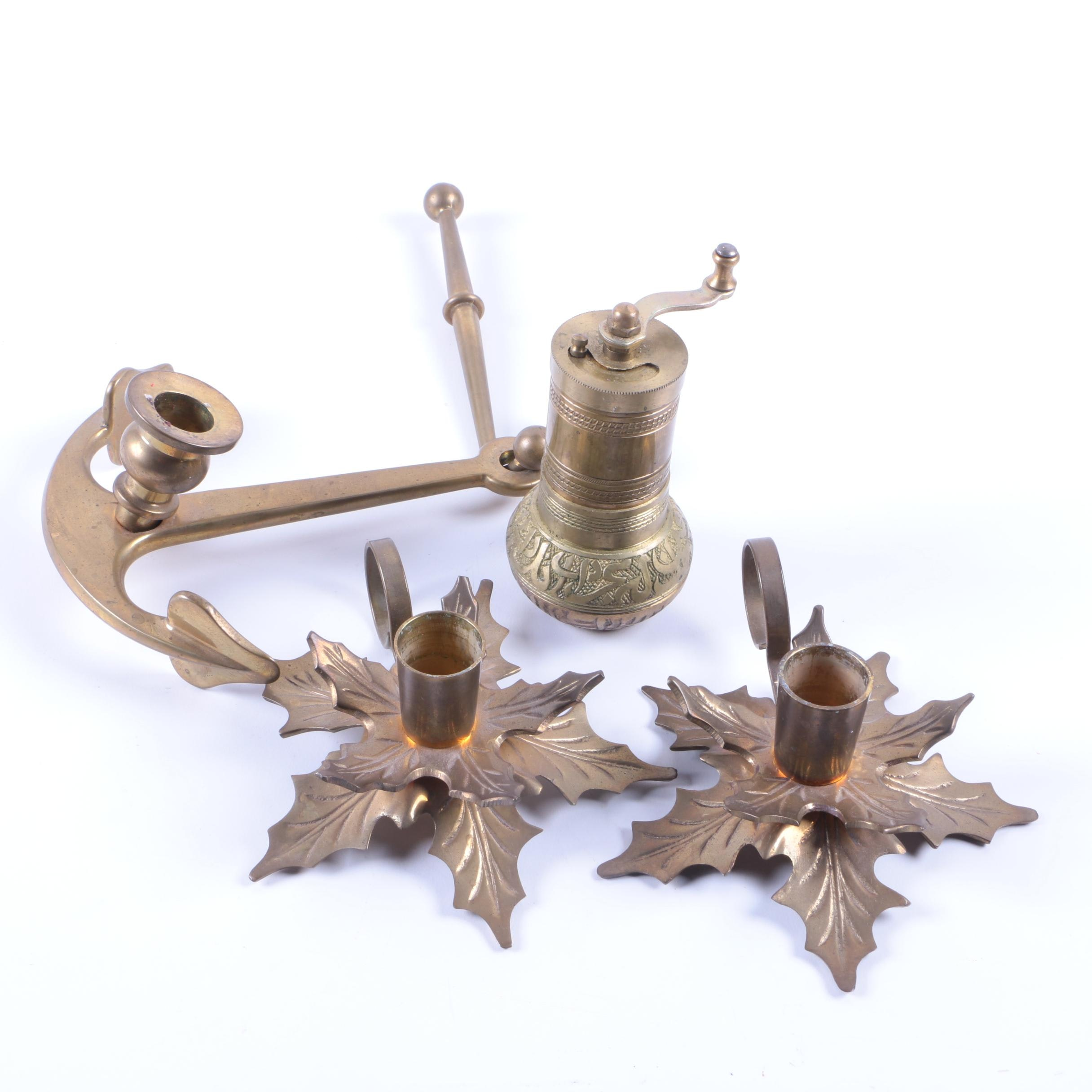 Brass Candleholders and Spice Grinder