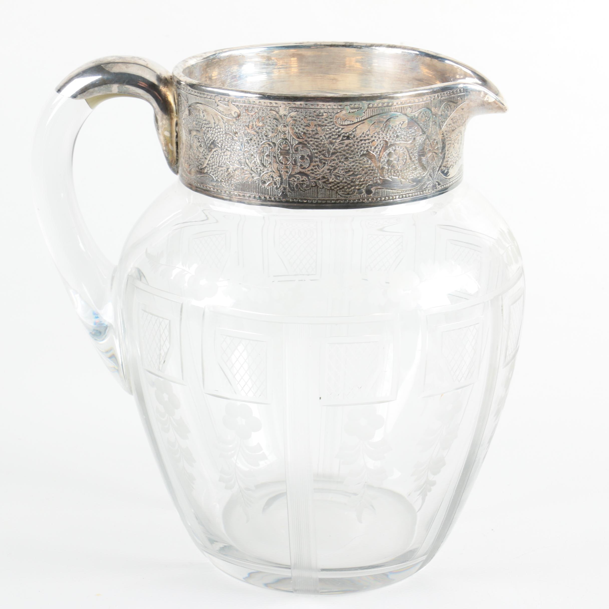 Crystal Pitcher with Applied Silver Rim