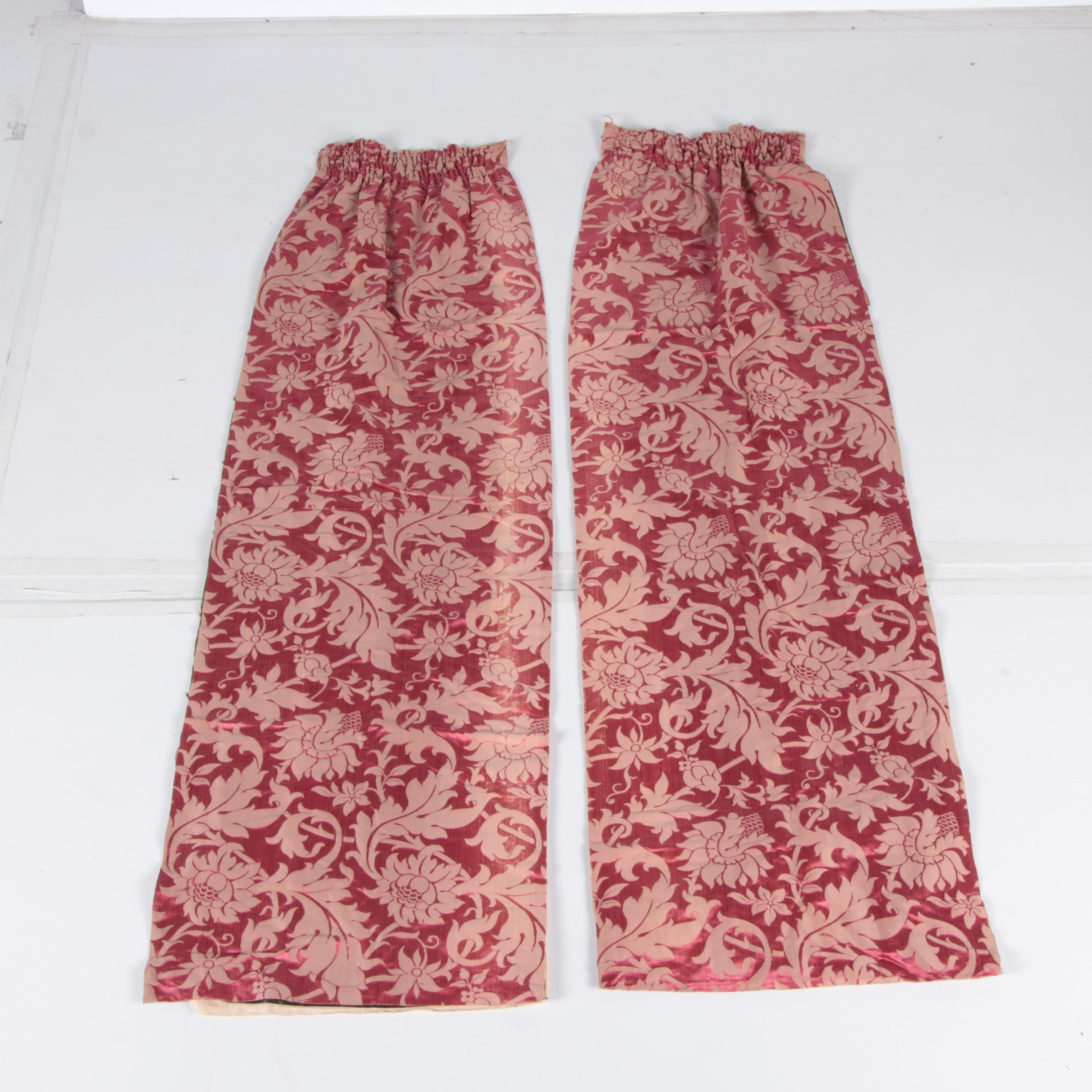 Pair of Red Brocade Curtains