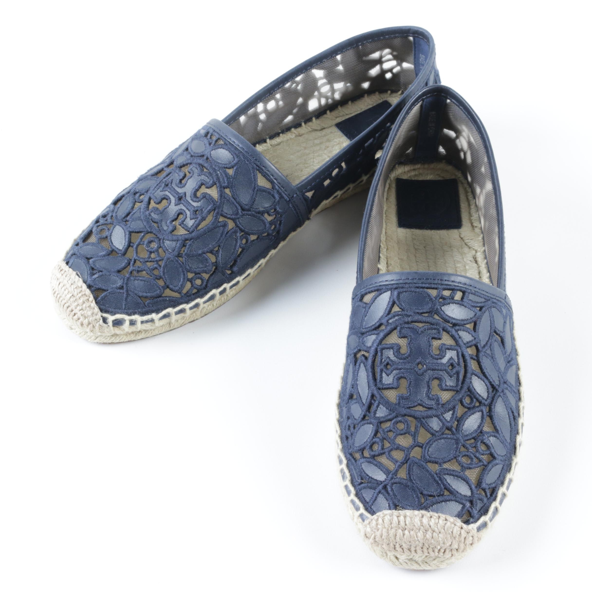 Tory Burch Textile and Leather Espadrilles