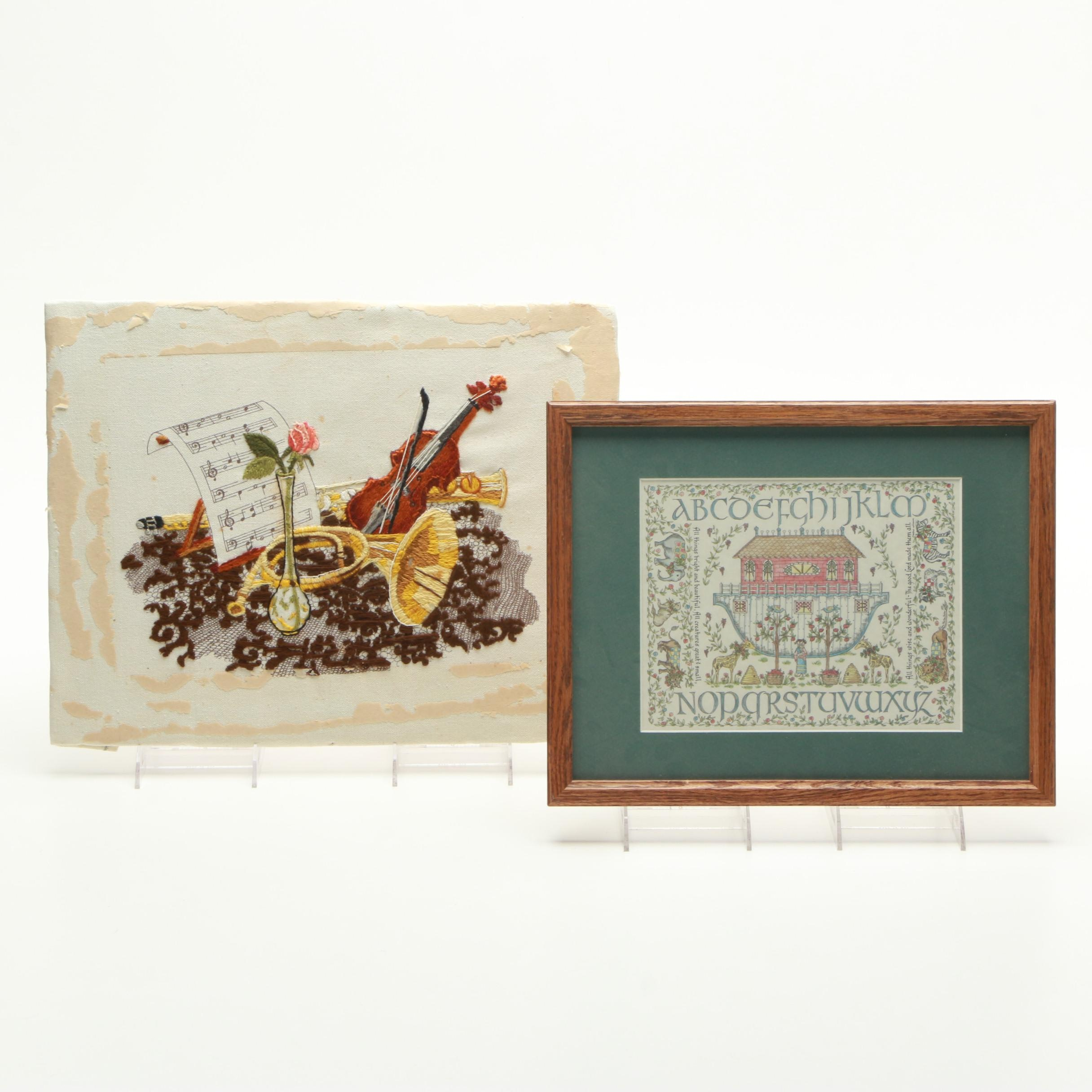 Embroidery of Instruments and Reproduction Print of Noah's Ark