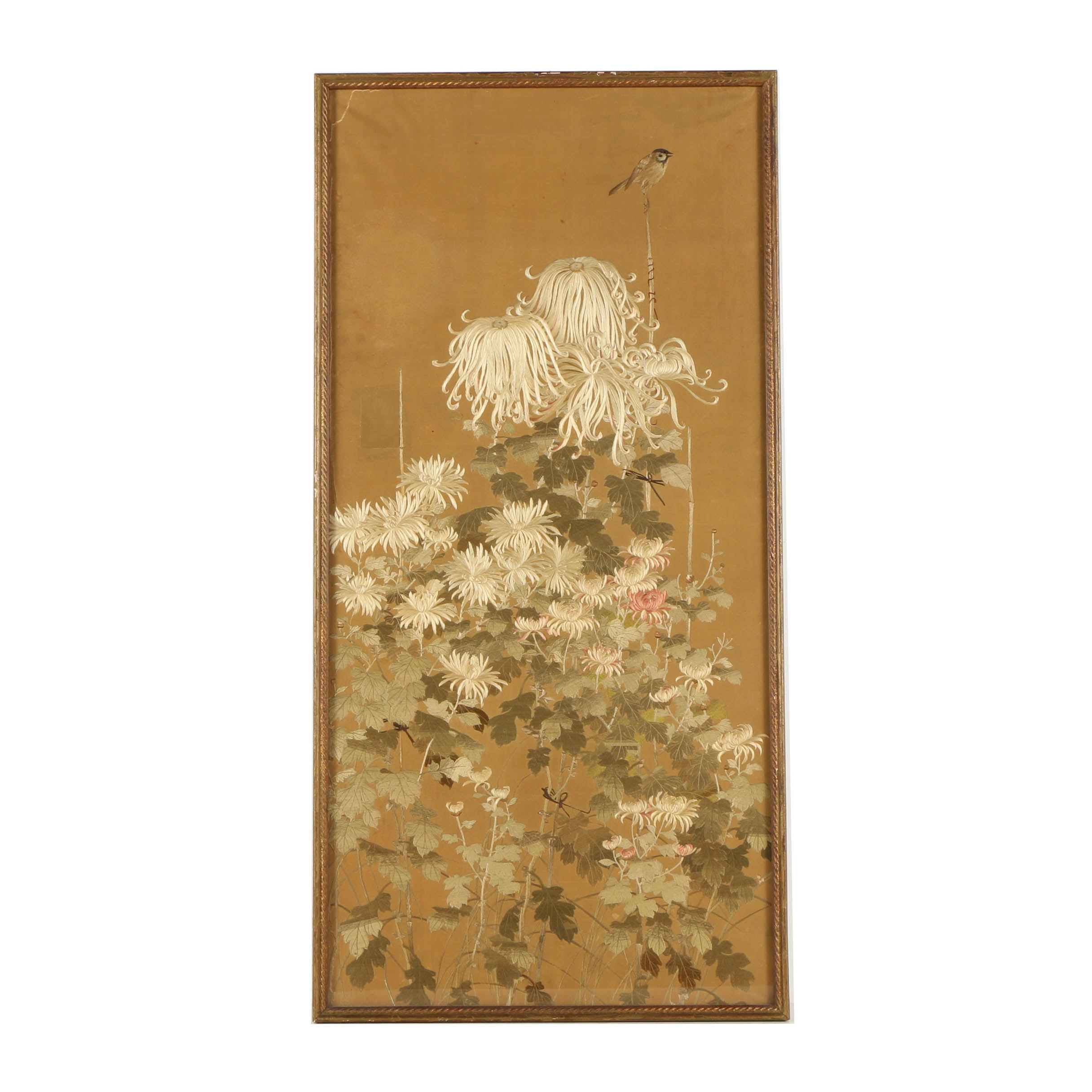 Japanese Embroidery on Silk of Bird and Flower Motif