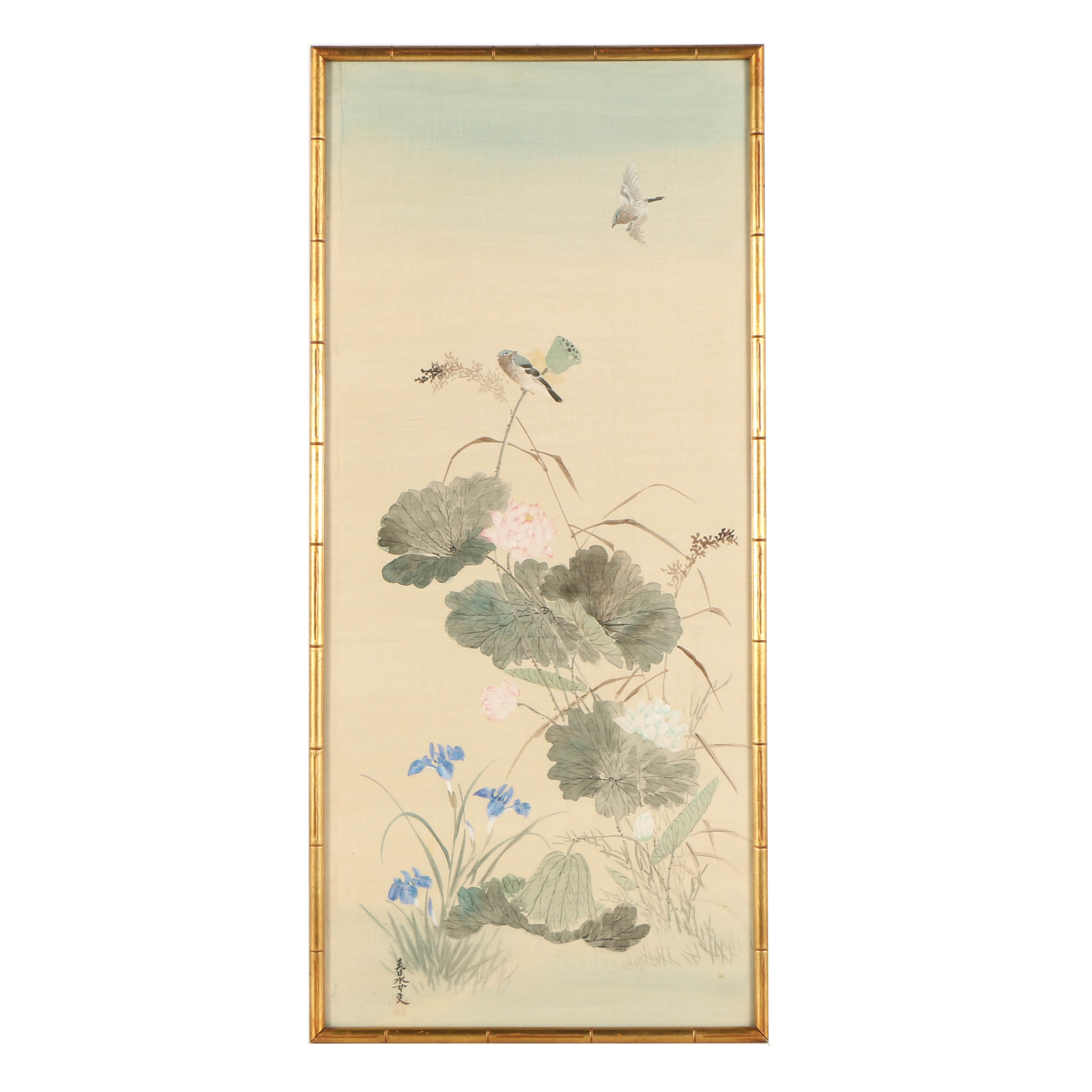 Japanese Watercolor Painting on Silk of Bird and Flower Motif