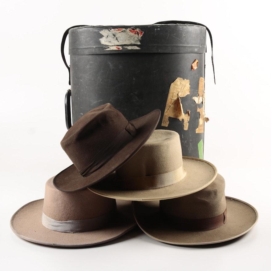 Vintage Spanish Made Fur Felt Hats with Hat Box   EBTH 2386d3a4eaf