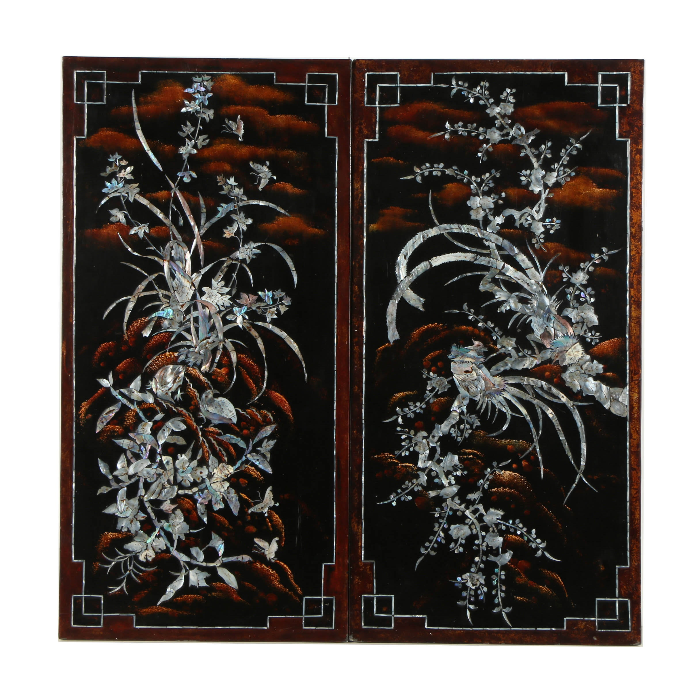 Japanese Lacquer Wooden Panels of Birds
