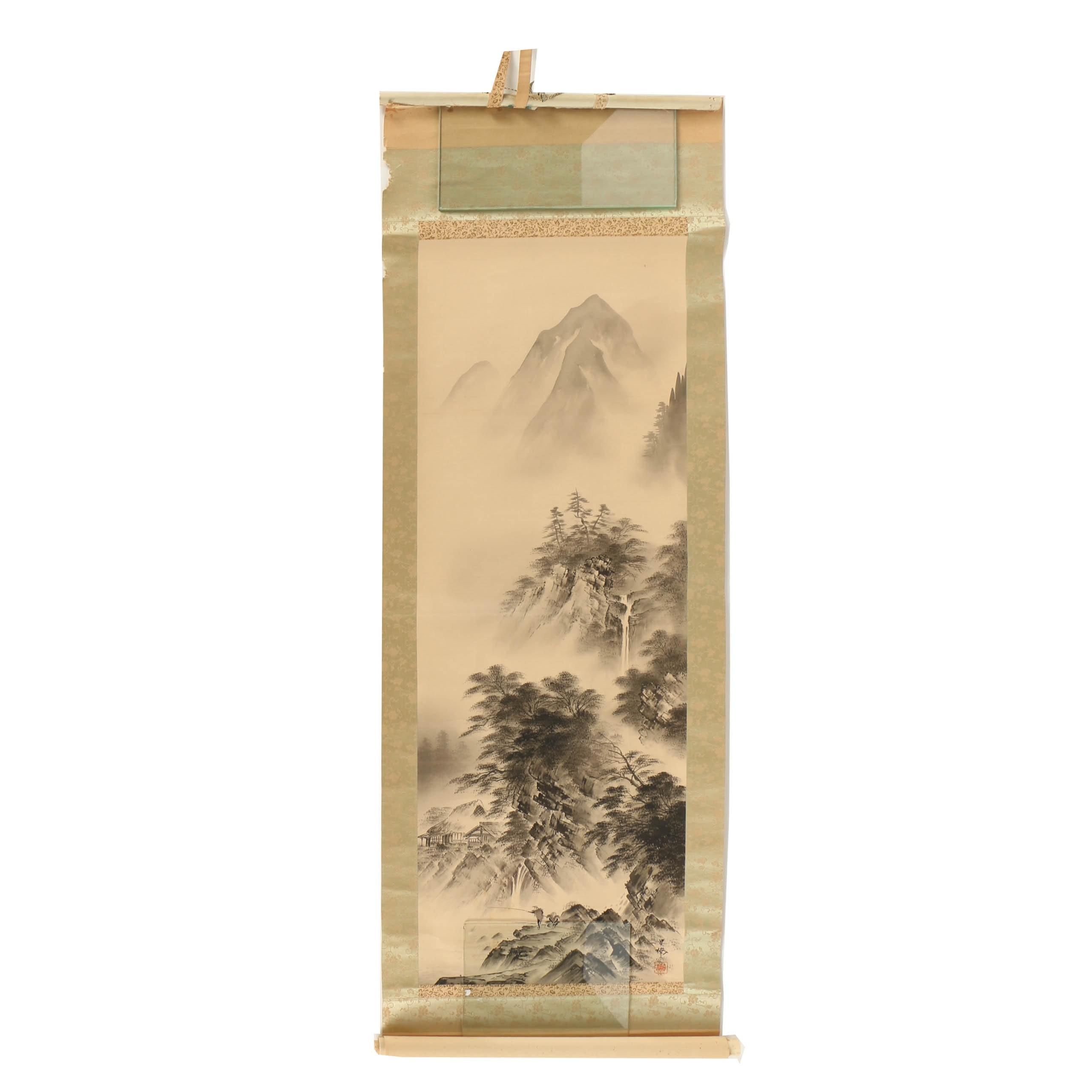 Japanese Ink on Paper Figurative Landscape Hanging Scroll
