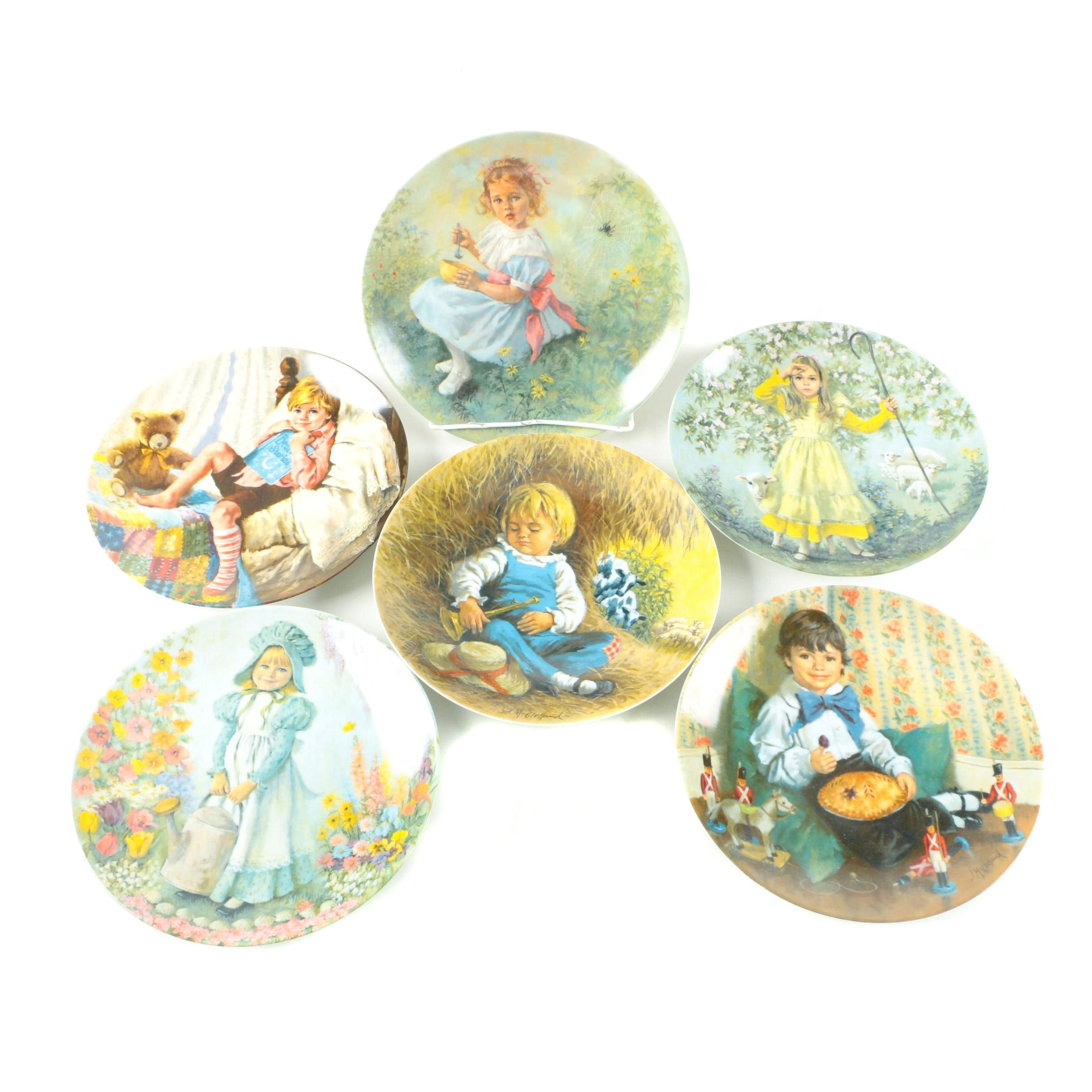 Set of Six Reco Mother Goose Series Plates by John McClelland