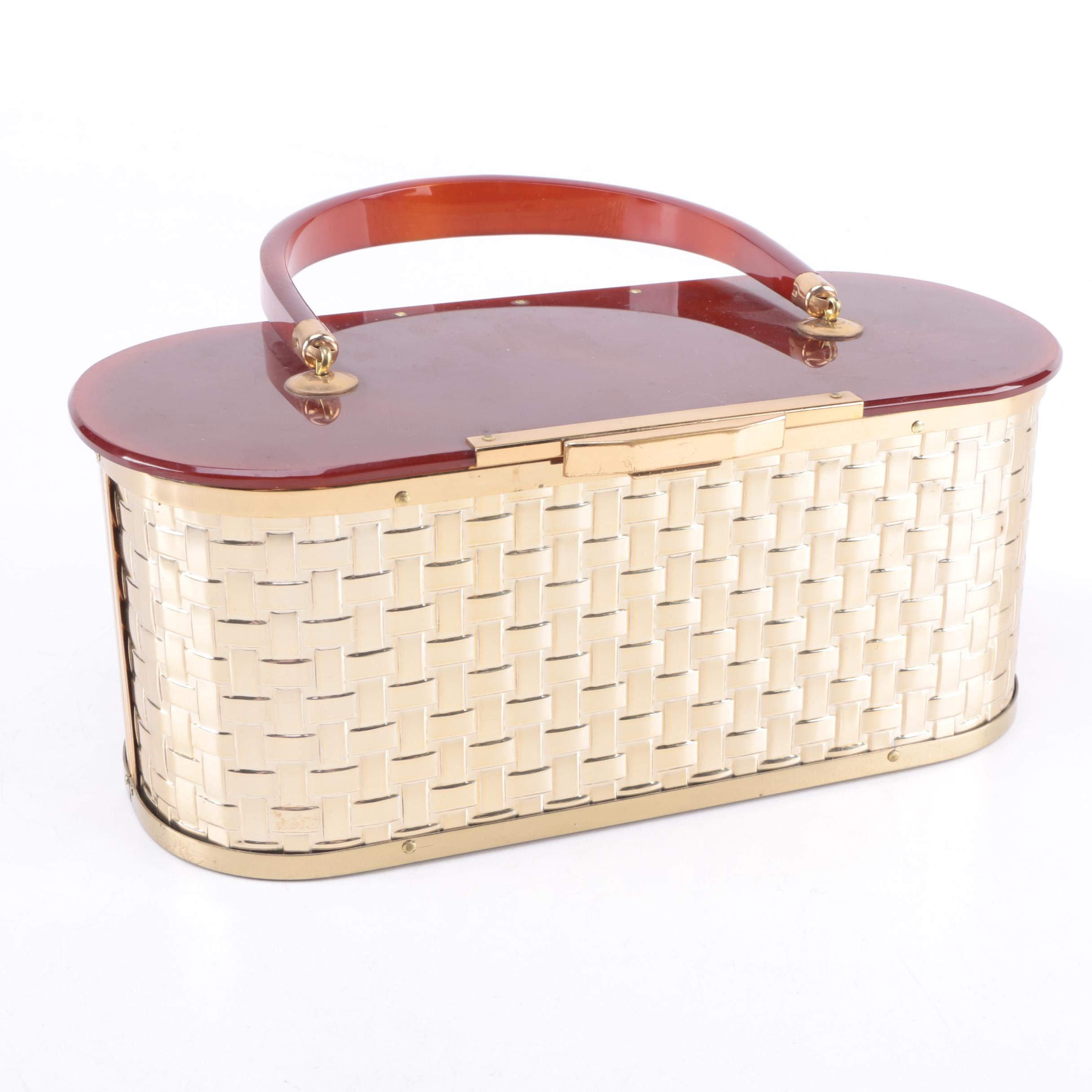 Vintage Majestic Lucite Basket Purse