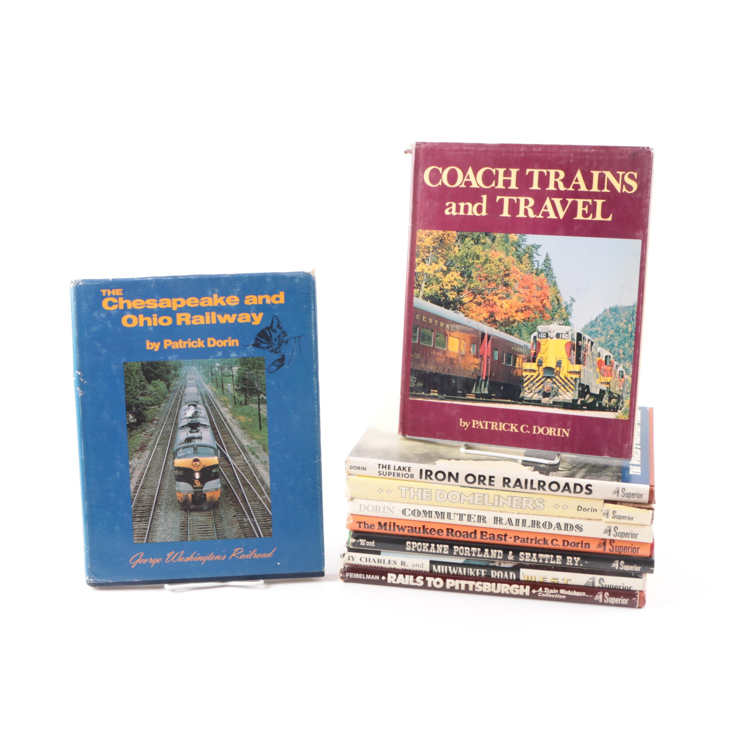 "Assorted Train Books Including 1975 First Edition ""Coach Trains and Travel"""