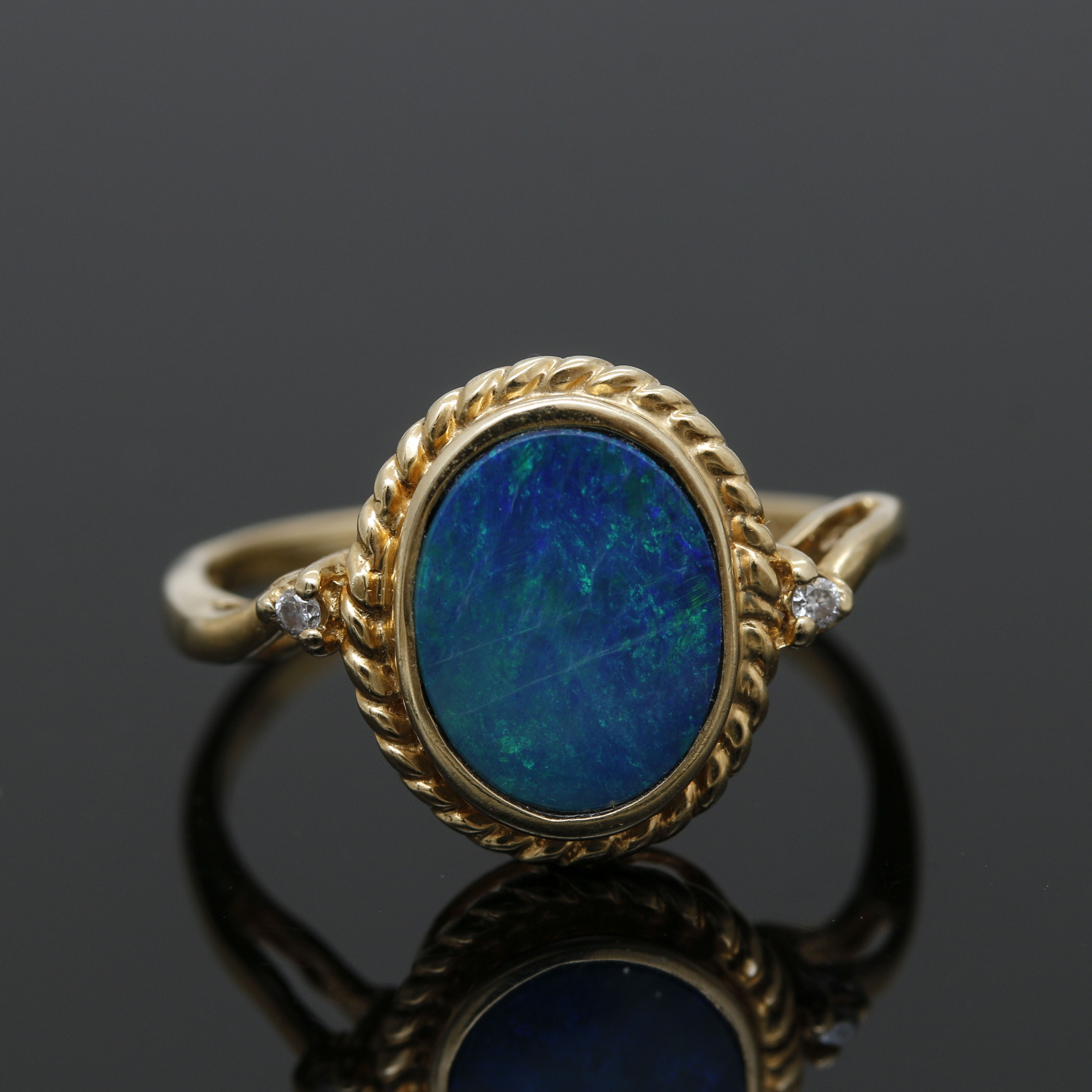 14K Yellow Gold Opal Doublet and Diamond Ring