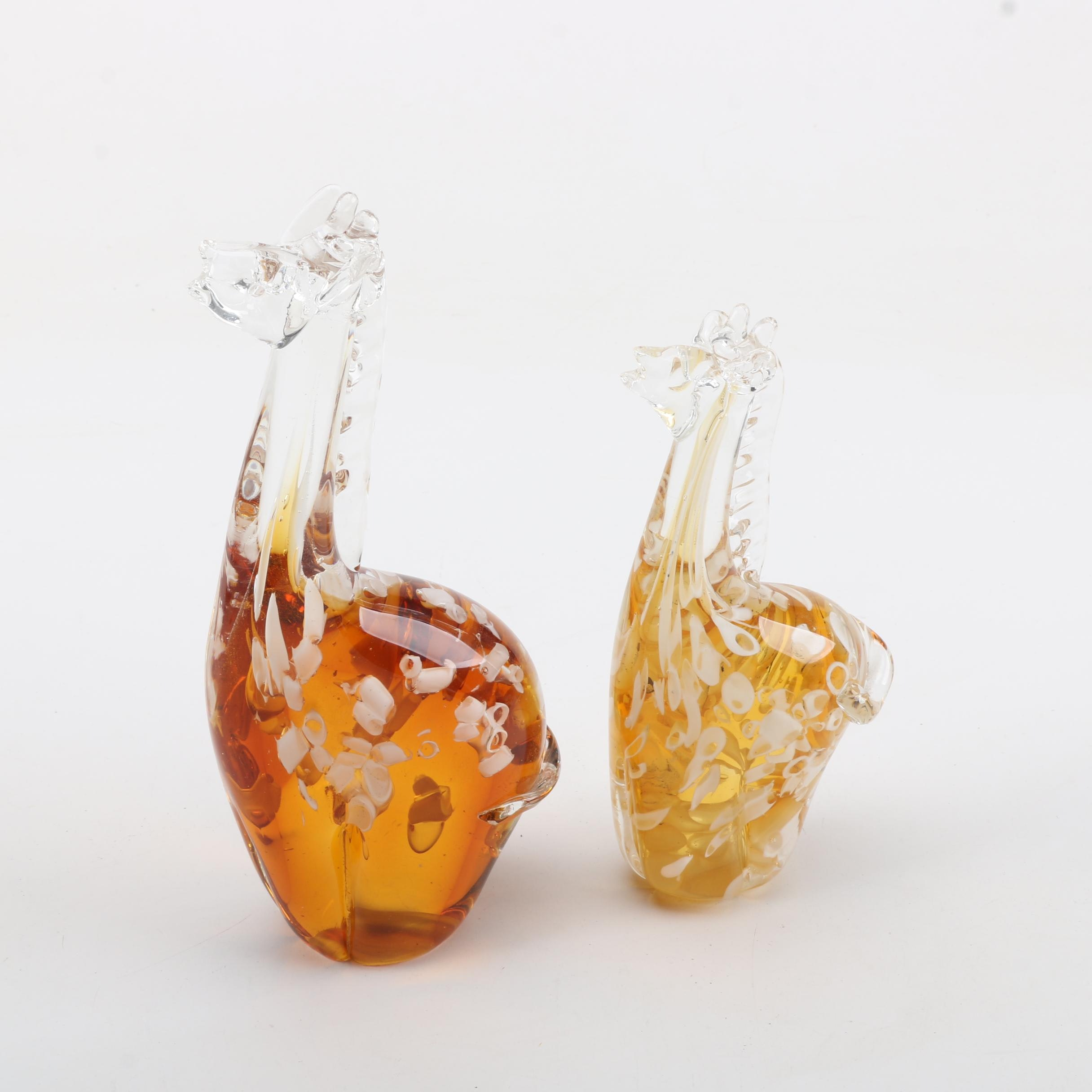 Blown Art Glass Giraffe Figurines