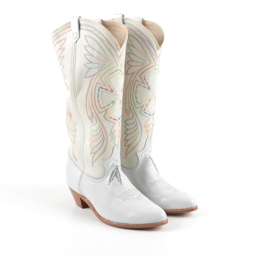 e8cfe89e2f6c4 Women's Vintage Acme White Leather Cowboy Boots