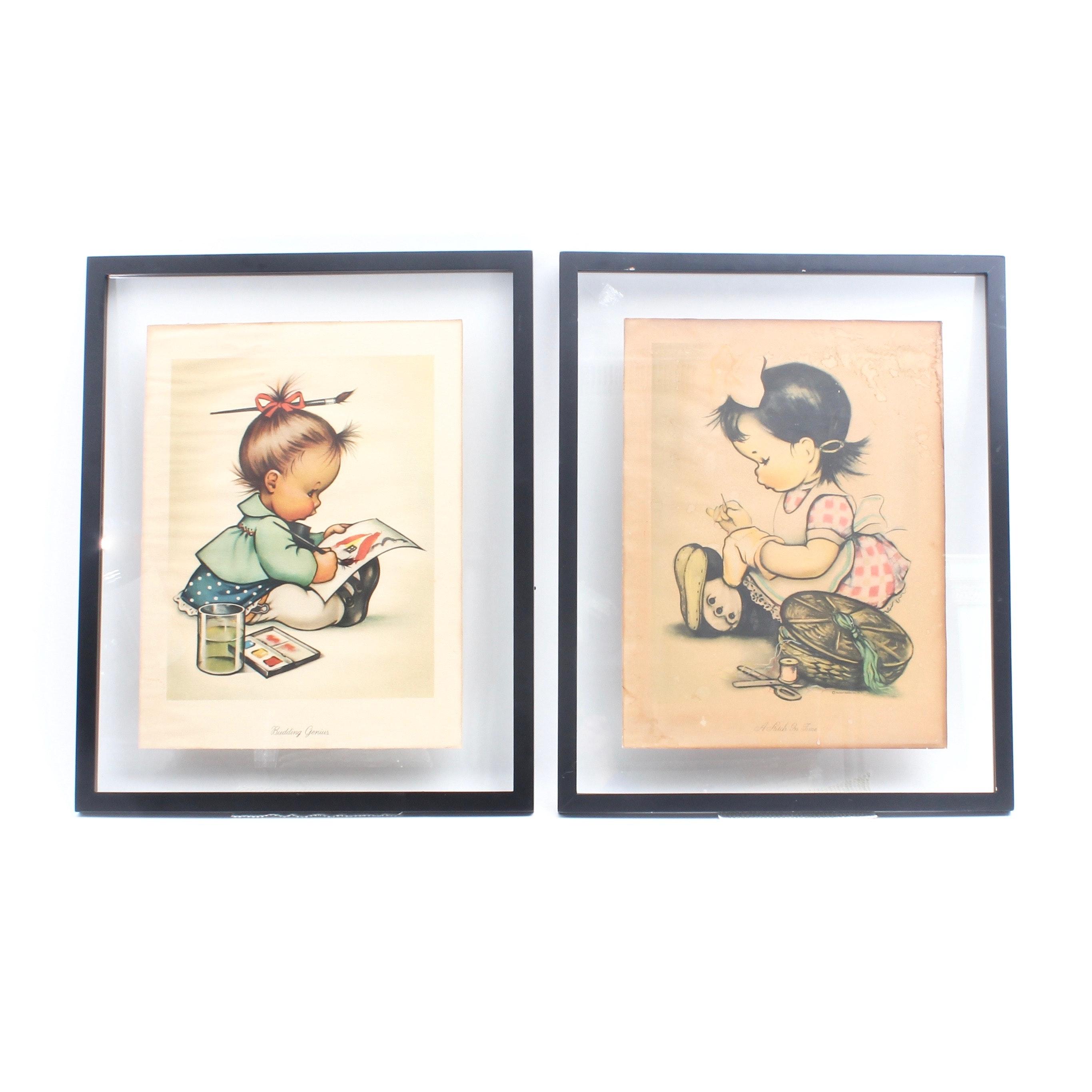 Vintage Charlot Byj Hummel Offset Lithographs