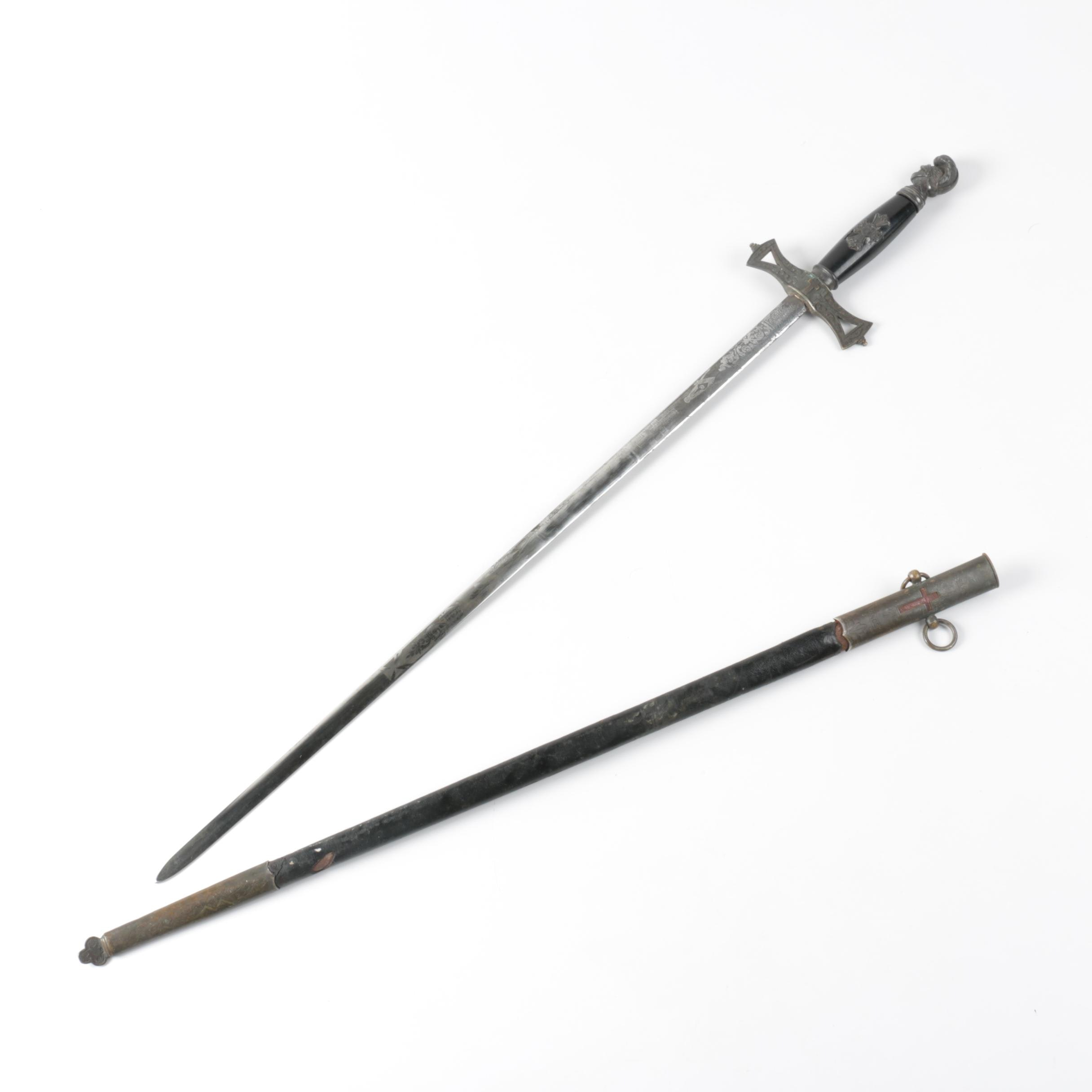 Early 20th Century Masonic Sword with Leather Scabbard