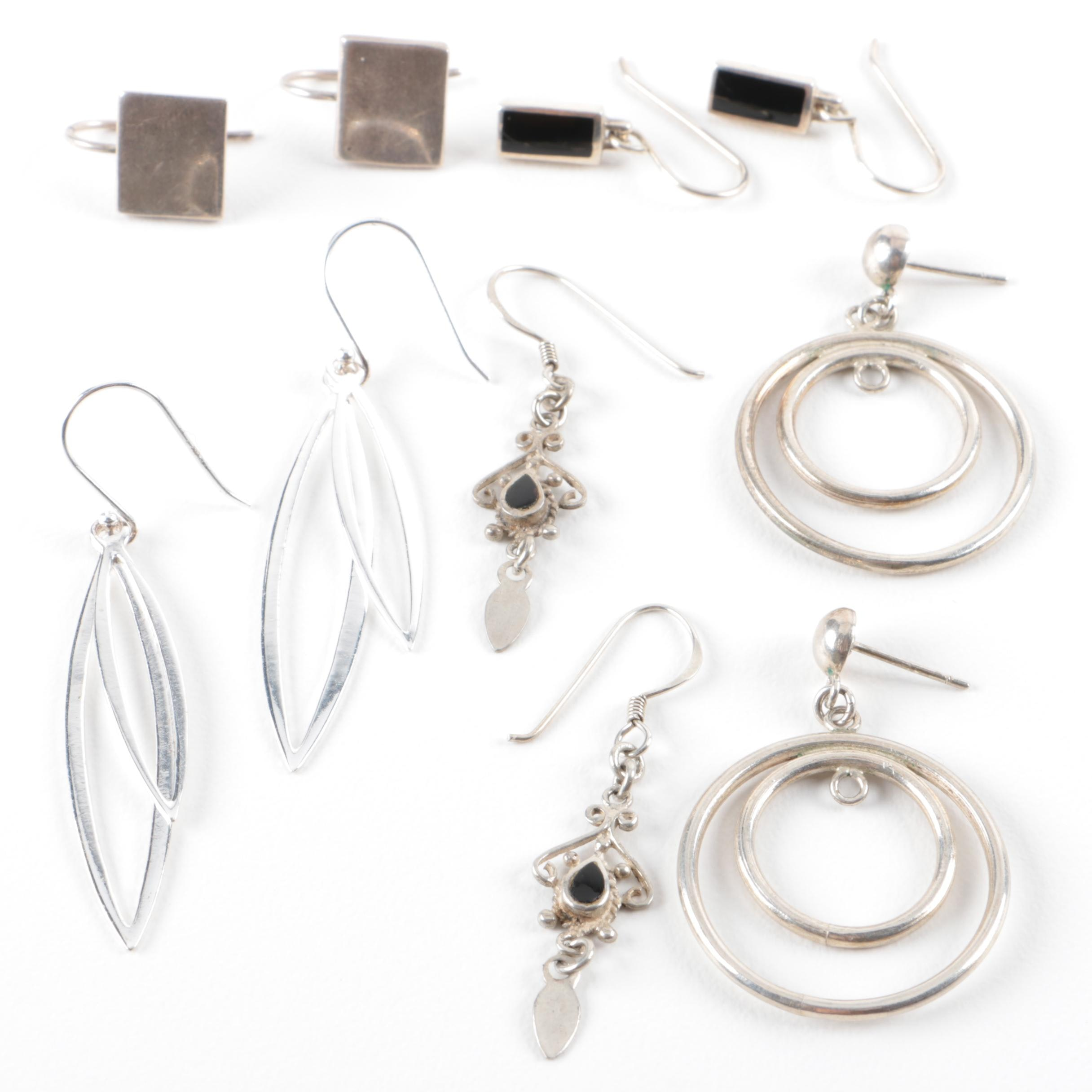 Grouping of Sterling Silver Earrings Including Onyx