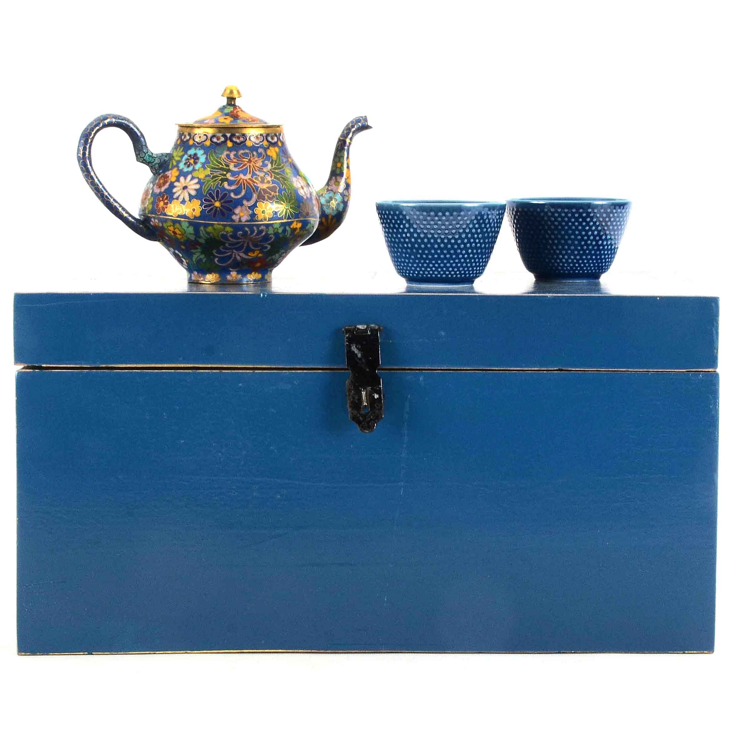 Cloisonne Teapot and Teacups