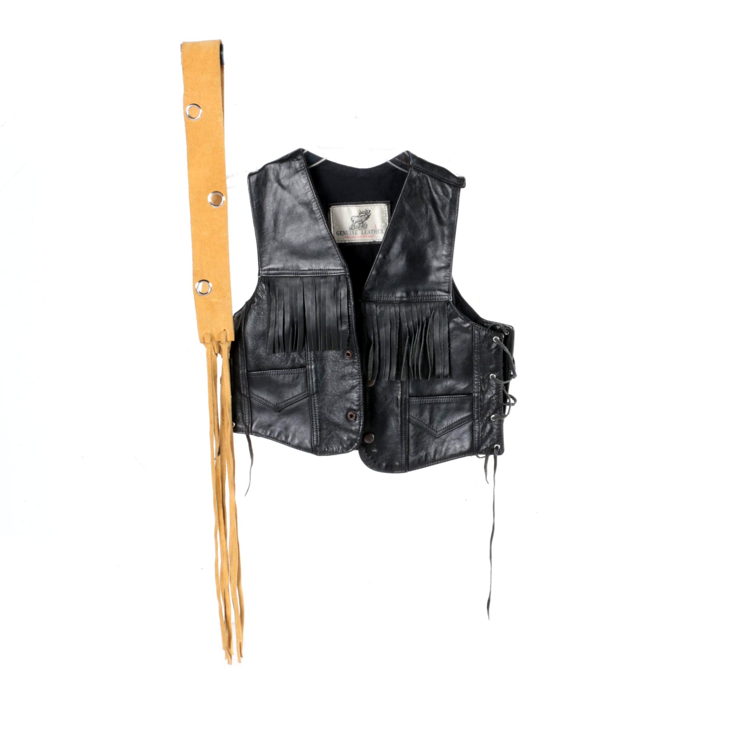 Children's Leather Fringe Vest and Suede Belt
