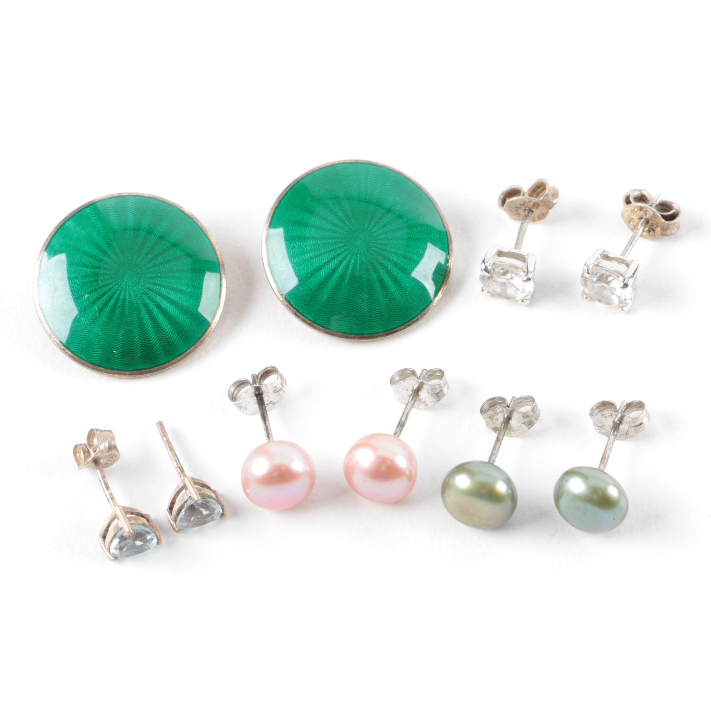 Sterling Silver Cultured Pearl and Cubic Zirconia Earrings