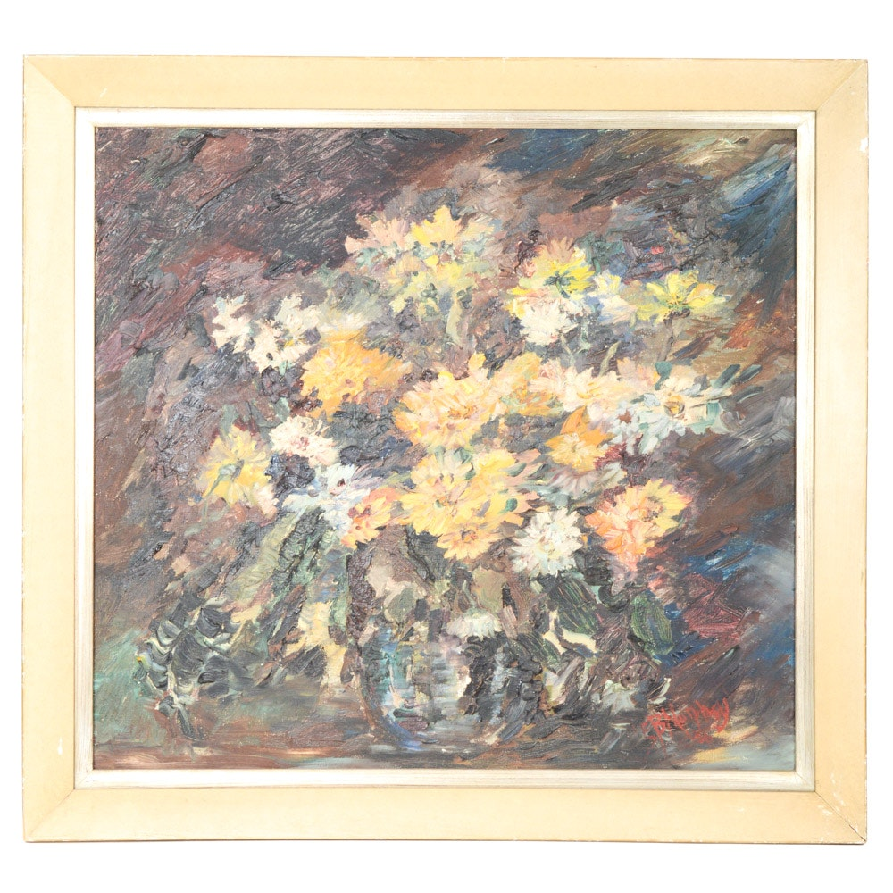 1956 E. B Murphey Oil on Canvas Post-Impressionist Style Painting