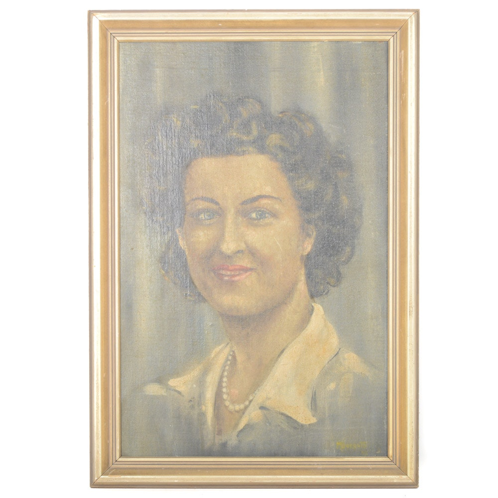 1943 M. Borgatti Oil on Board Portrait Painting