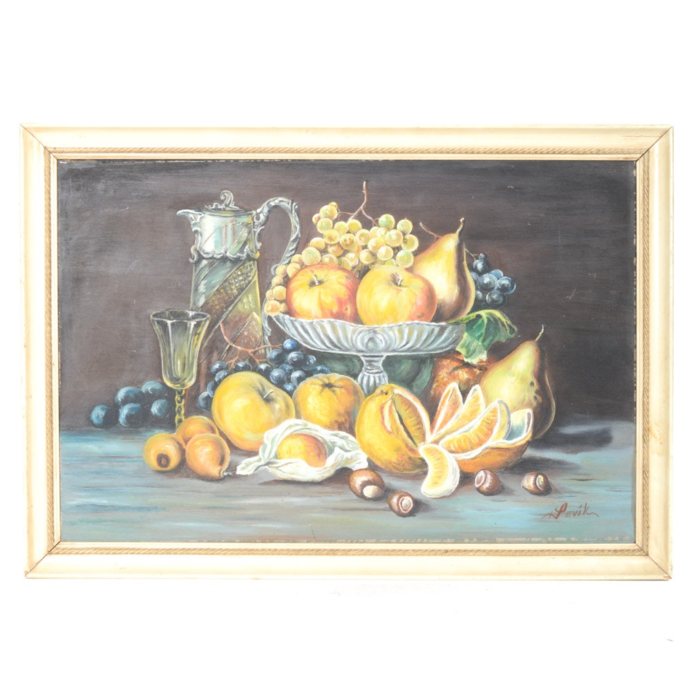 Levik Oil on Board Still Life Painting
