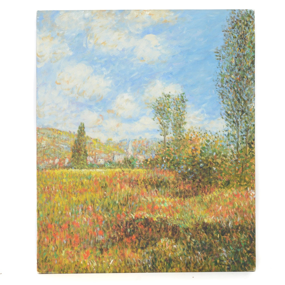 Impressionist Style Oil on Canvas Landscape Painting