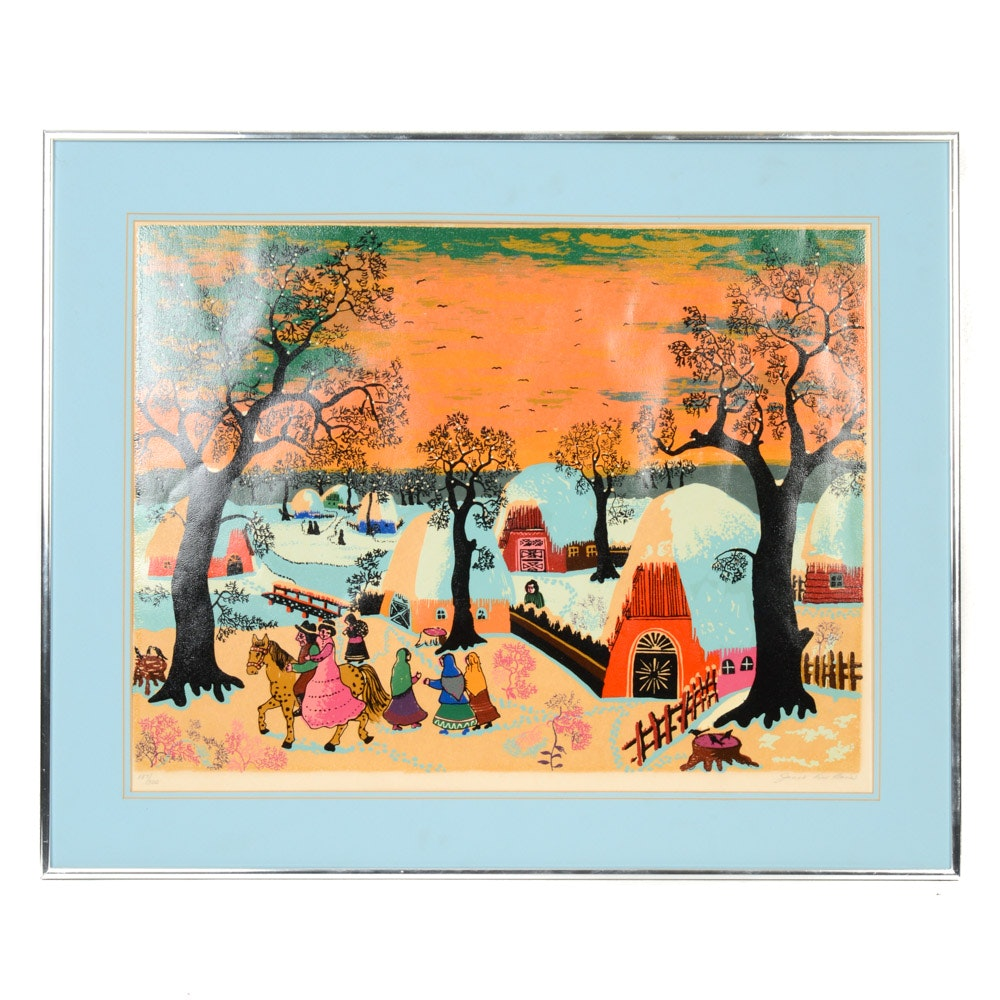 """Janet DuBois Limited Edition Serigraph """"Snowy Village"""""""