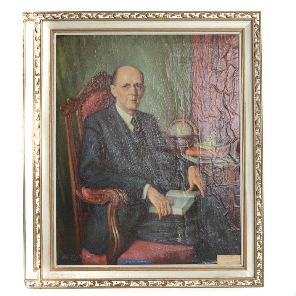 John Dartuvo Oil on Canvas Portrait of Paul P Harris