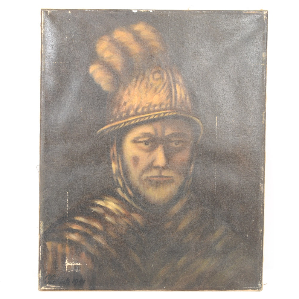 Yeoboch Oil on Canvas Portrait Painting of Roman Soldier