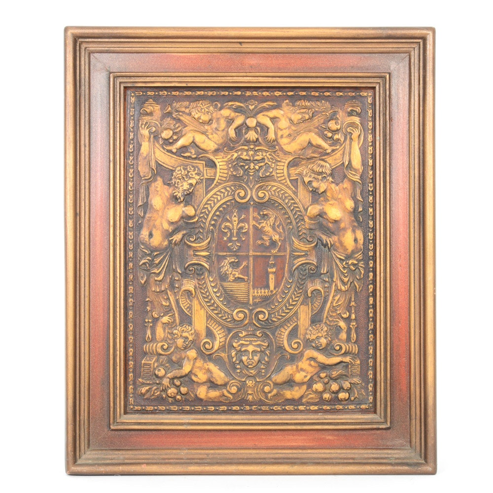 Hand-Painted Embossed Leather French Coat of Arms