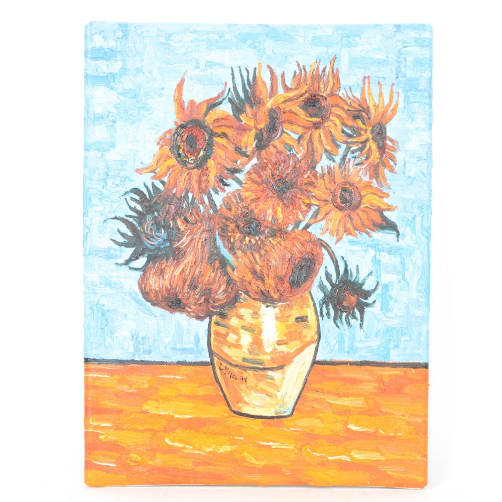 "Oil on Canvas Copy Painting After Vincent Van Gogh's ""Sunflowers"""