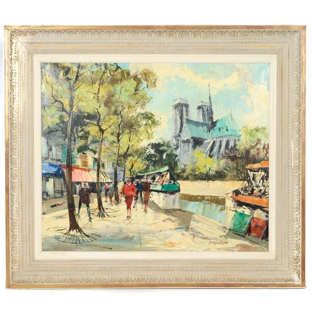 Jean Cordet Oil on Canvas Parisienne Streetscape Painting