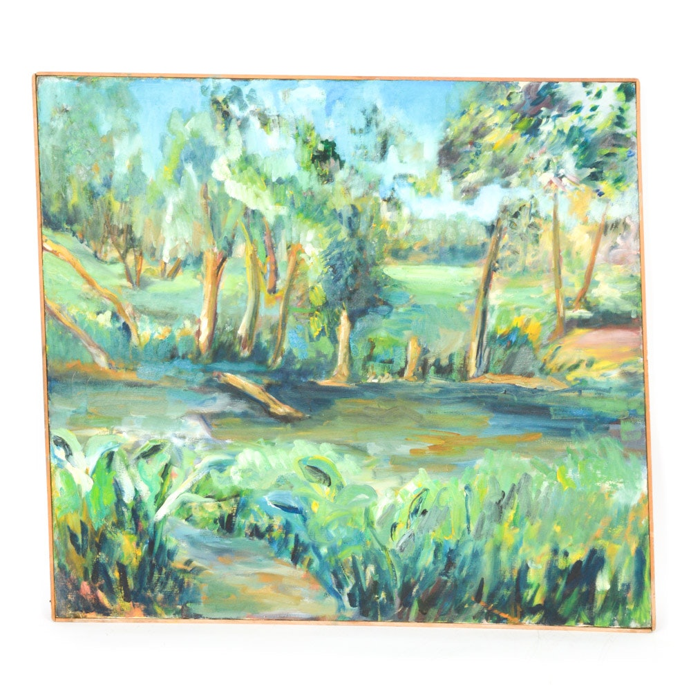 Oil on Canvas Painting of Impressionist Style Landscape