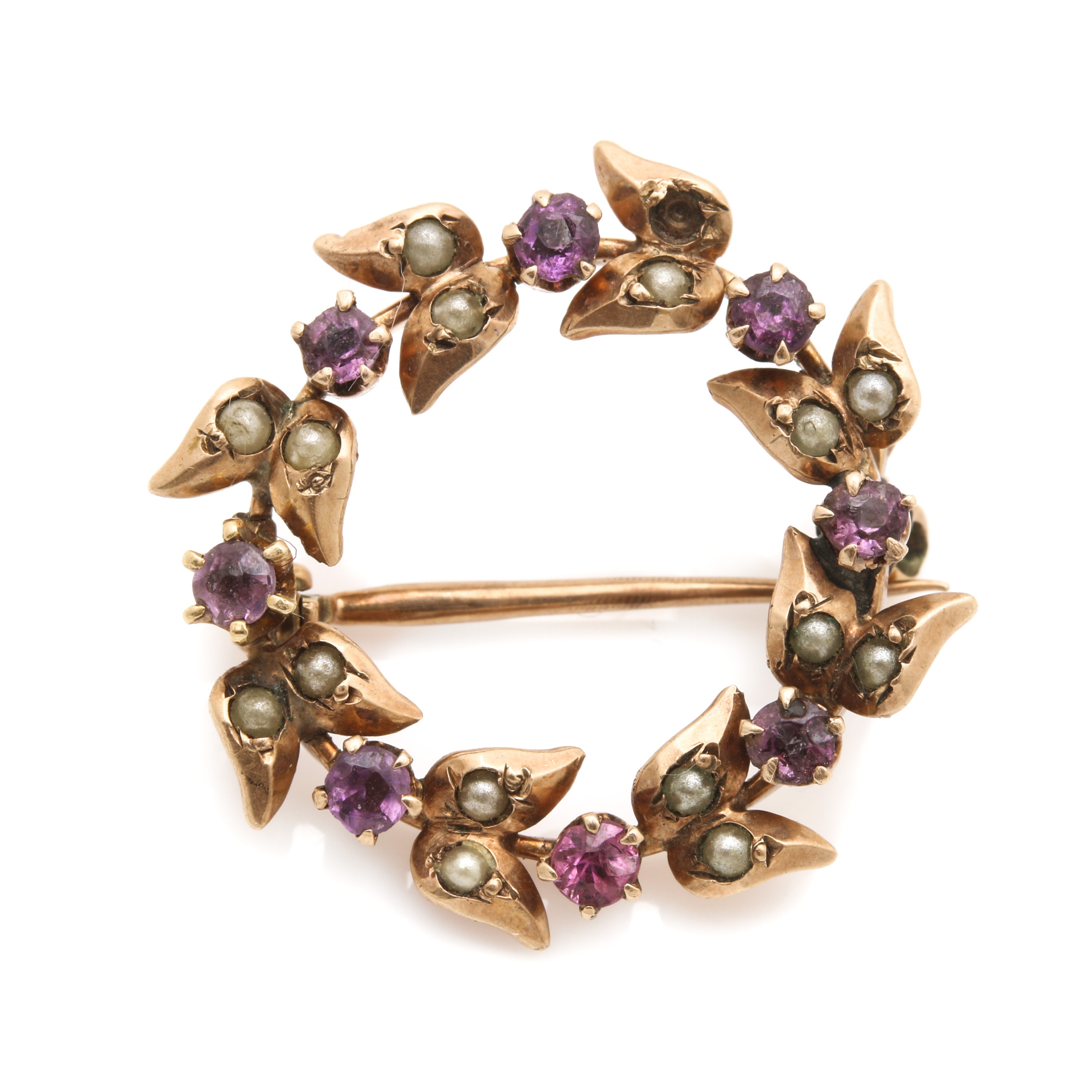 10K Yellow Gold Quartz Doublet and Seed Pearl Wreath Brooch