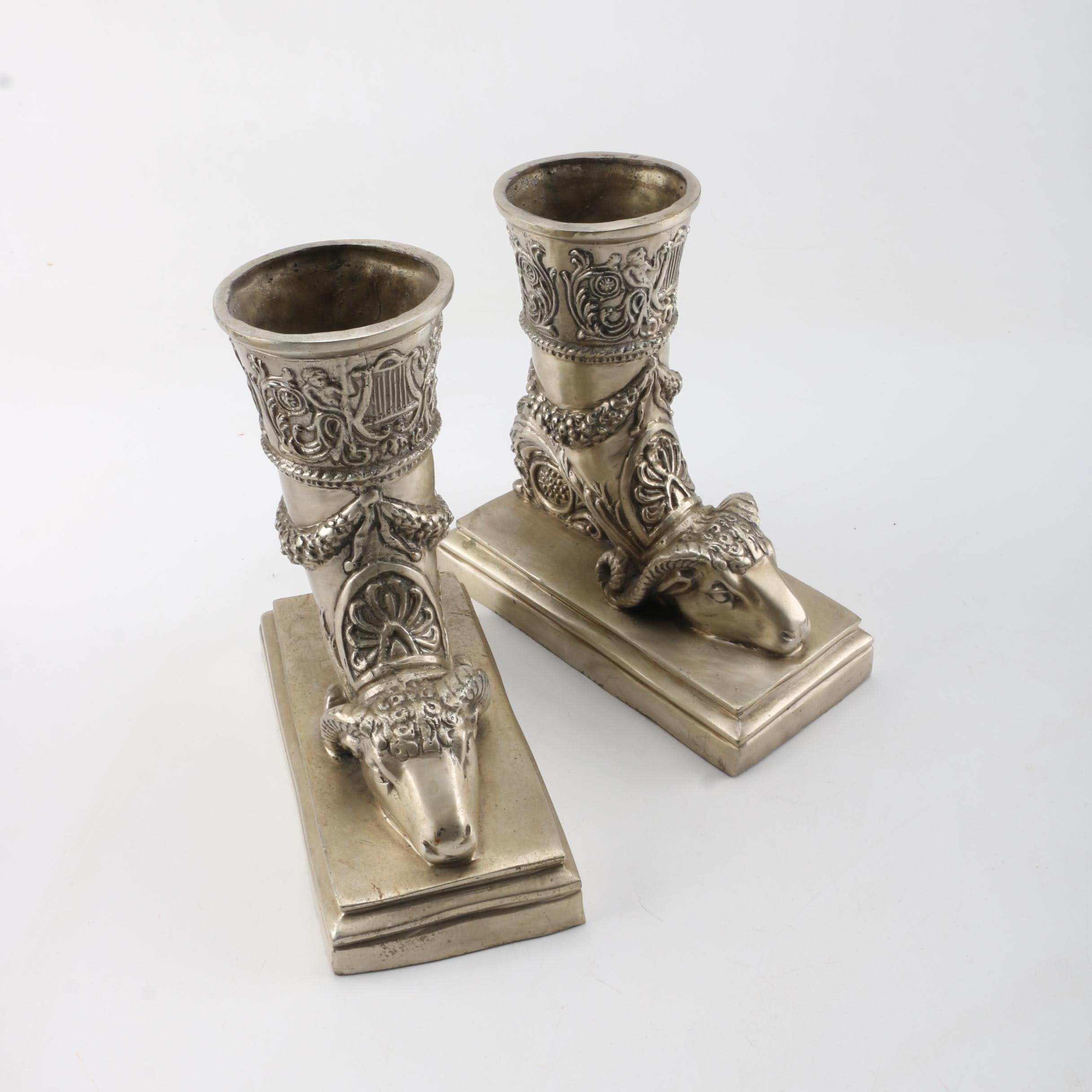 Silver Toned Boot Bookends