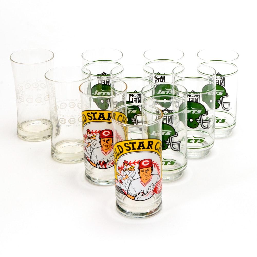 Baseball and Football Souvenir Drinking Glasses