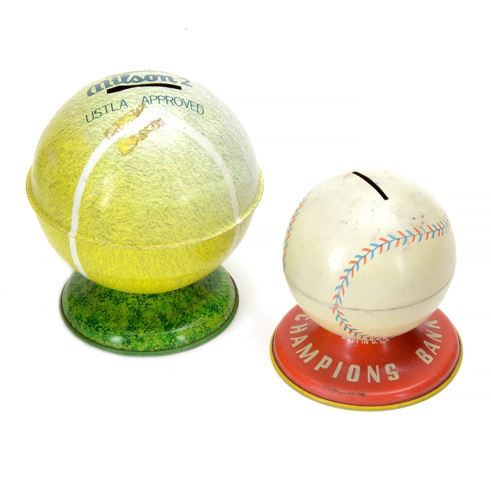 Vintage Ohio Art Baseball and Wilson Tennis Tin Banks