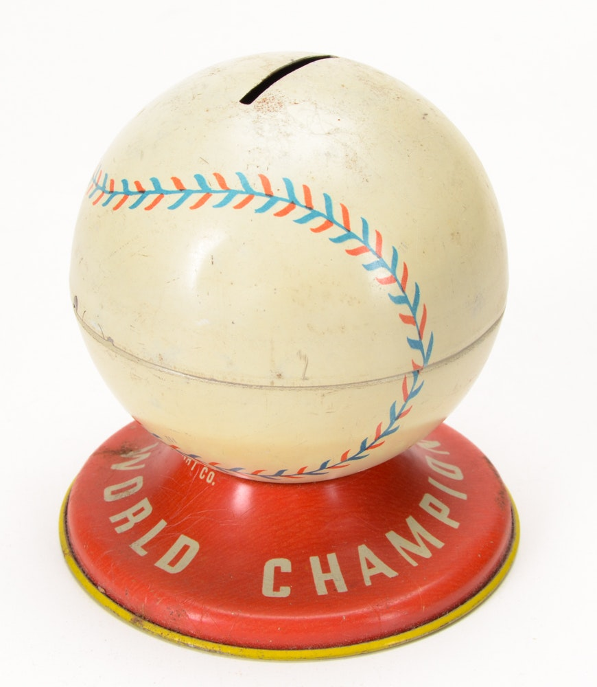 Vintage Ohio Art Baseball And Wilson Tennis Tin Banks Ebth