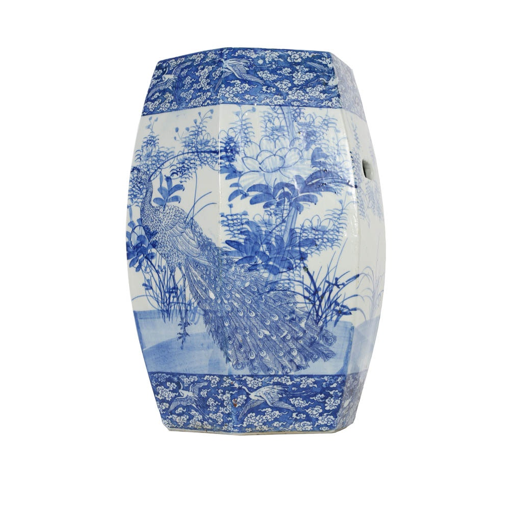 Japanese Blue and White Porcelain Garden Stand