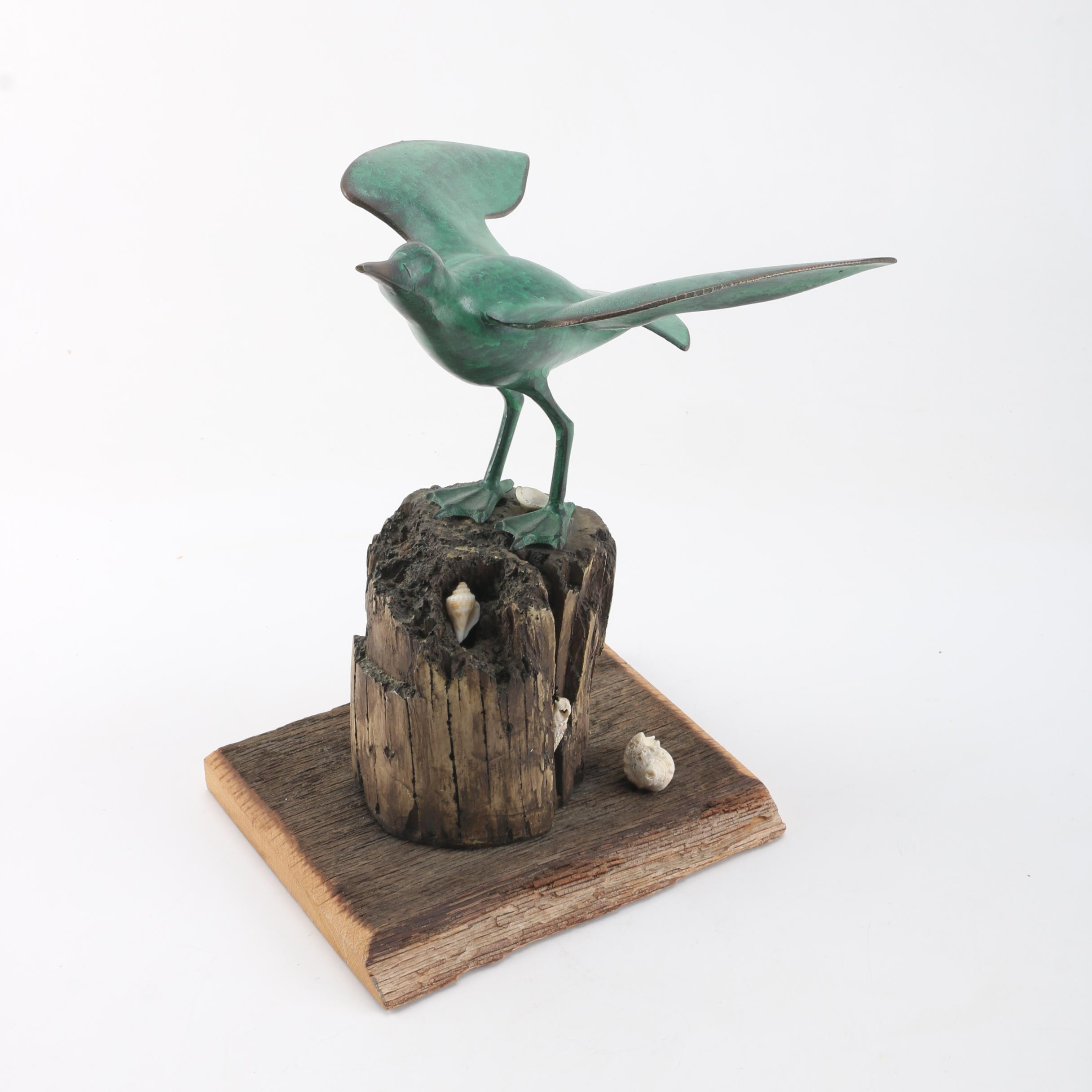 Cast Iron Bird Figurine with Wood Base