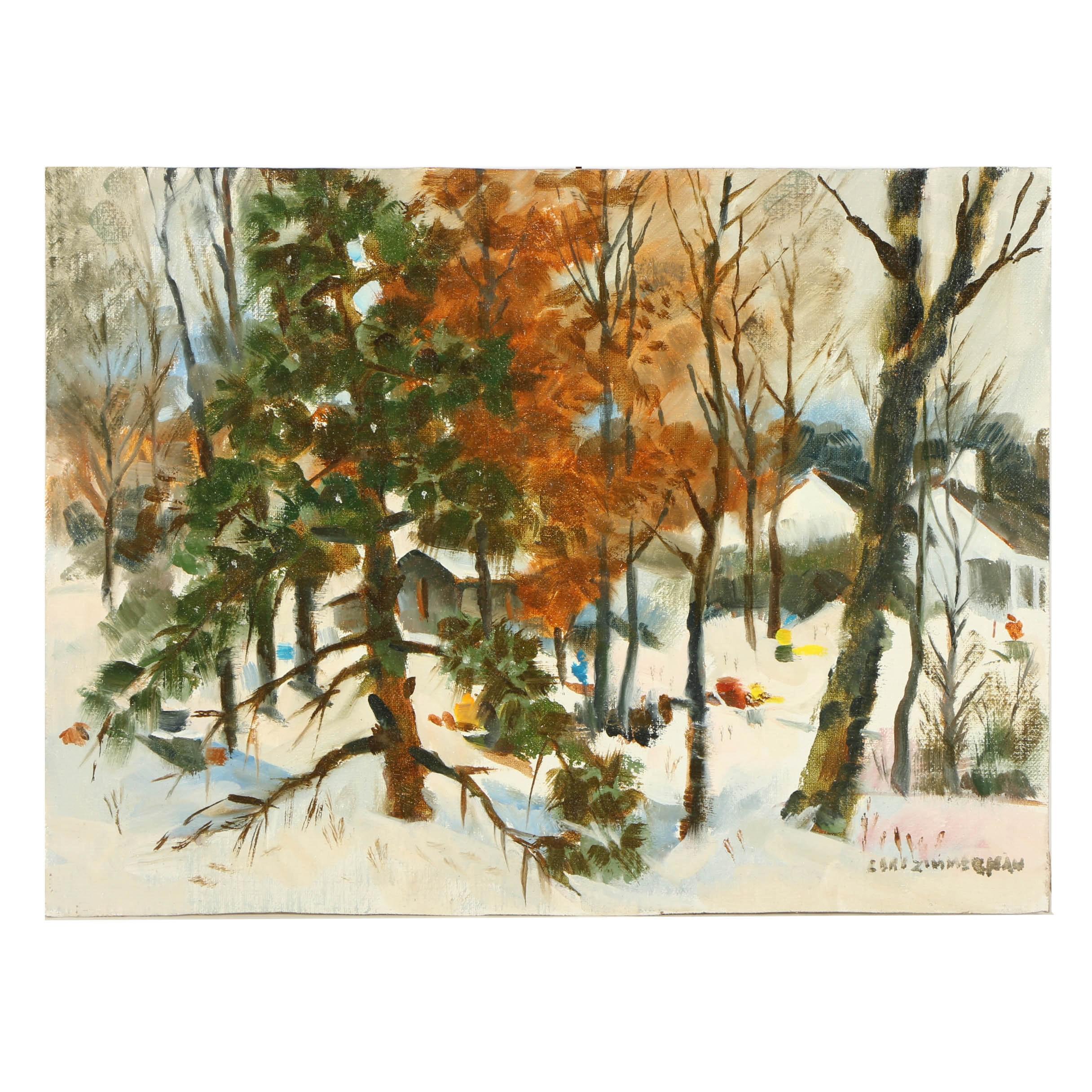 Carl Zimmerman Oil on Canvas Board of a Winter Landscape