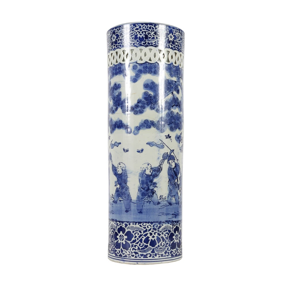 East Asian Blue Porcelain Umbrella Stand