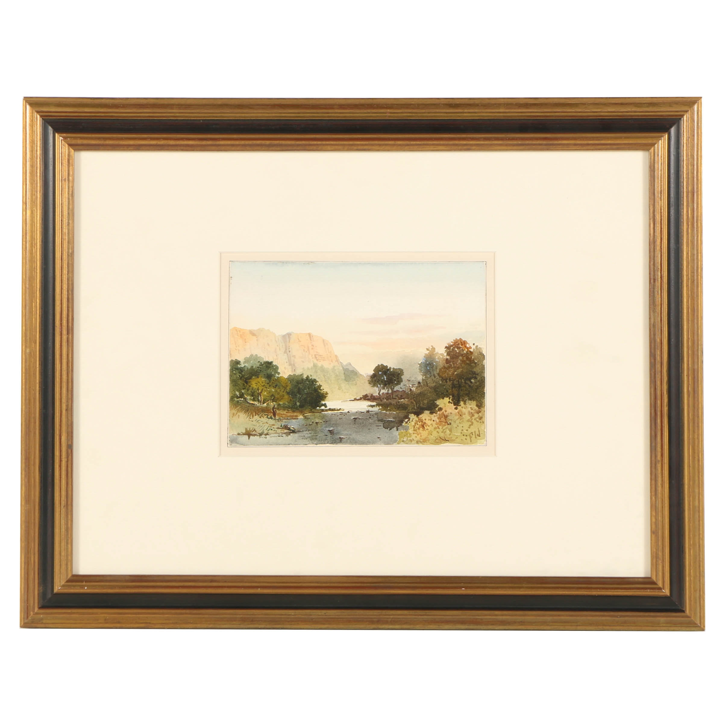 """Watercolor on Paper """"Matlock High Tor Derbyshire"""" Attributed to George Shepherd"""
