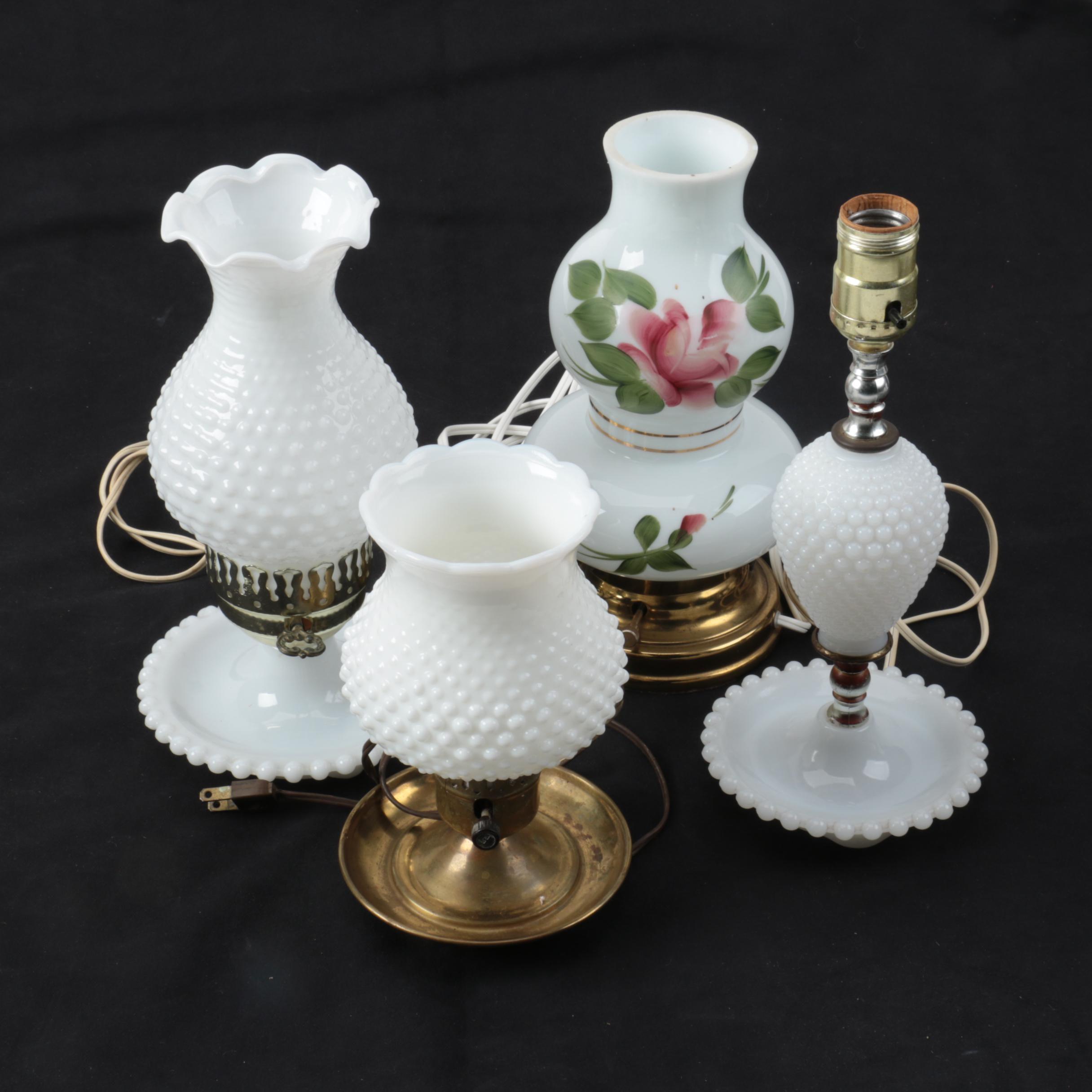 Vintage Milk Glass Accent Lamps